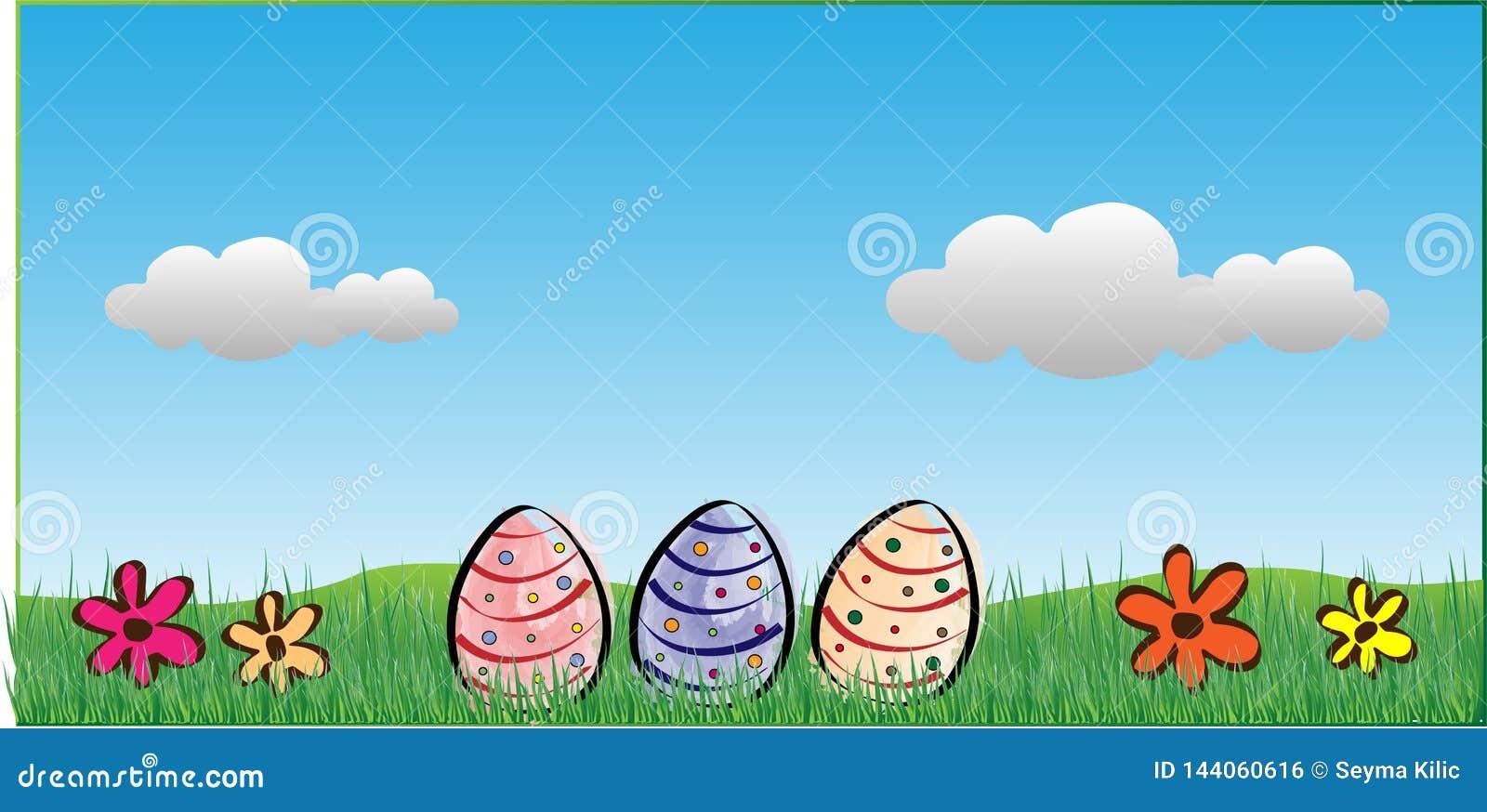 Fondo de Pascua con los huevos, las flores y las nubes