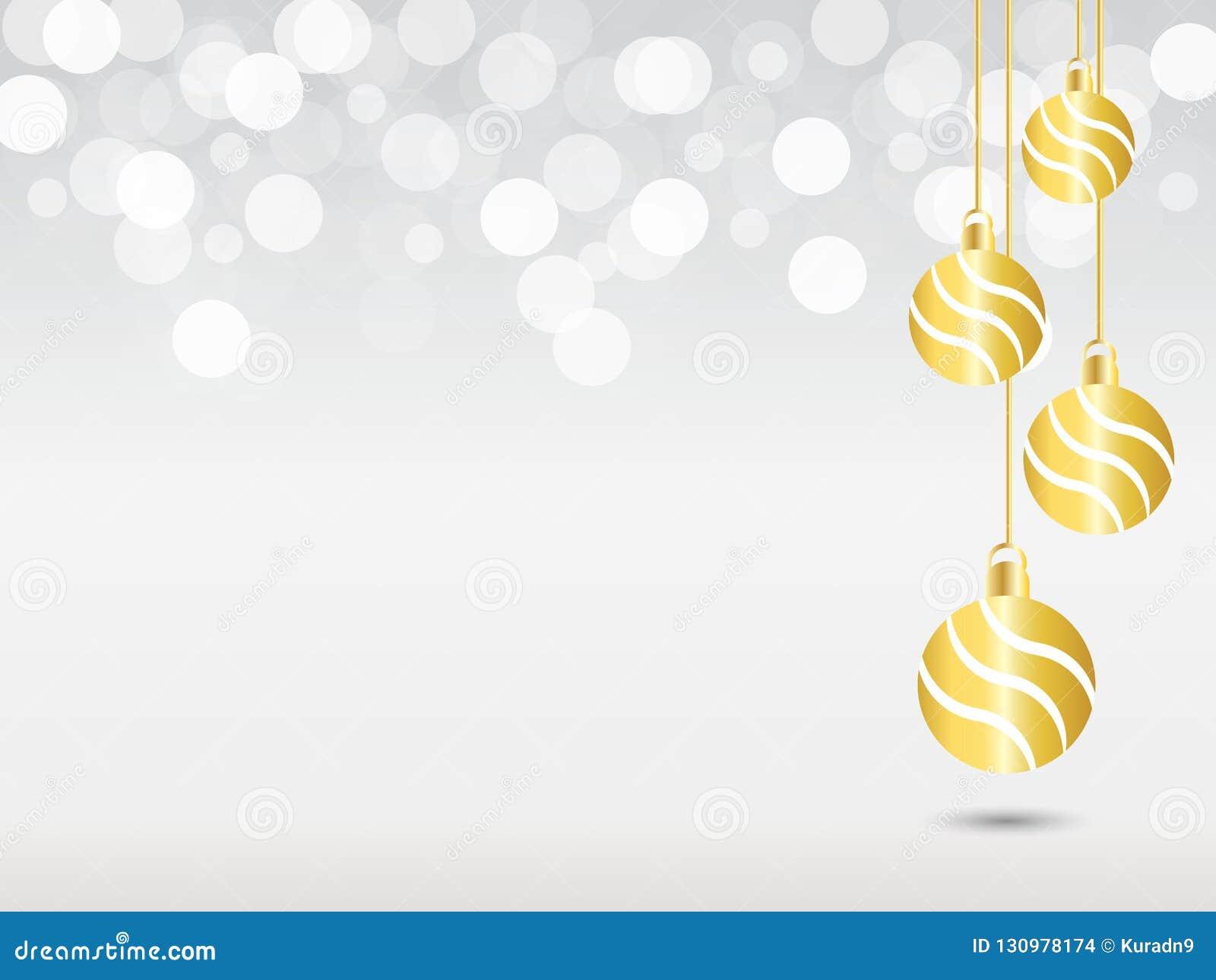 Fondo de plata de la pendiente con la luz blanca del bokeh Fondo de la Navidad con la decoración amarilla colgante de la bola de