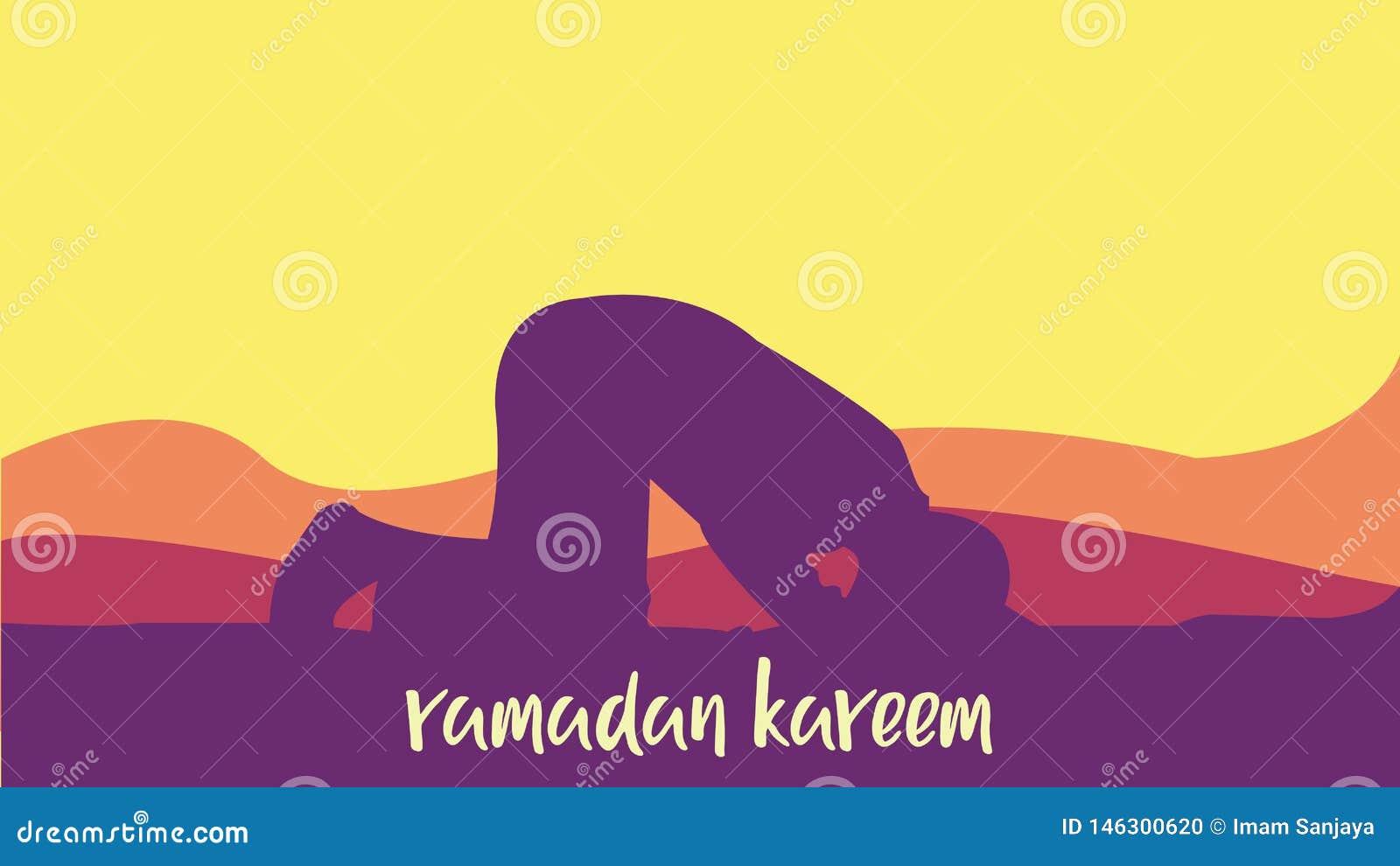 Fondo de Ramadan Kareem con la rogación del hombre