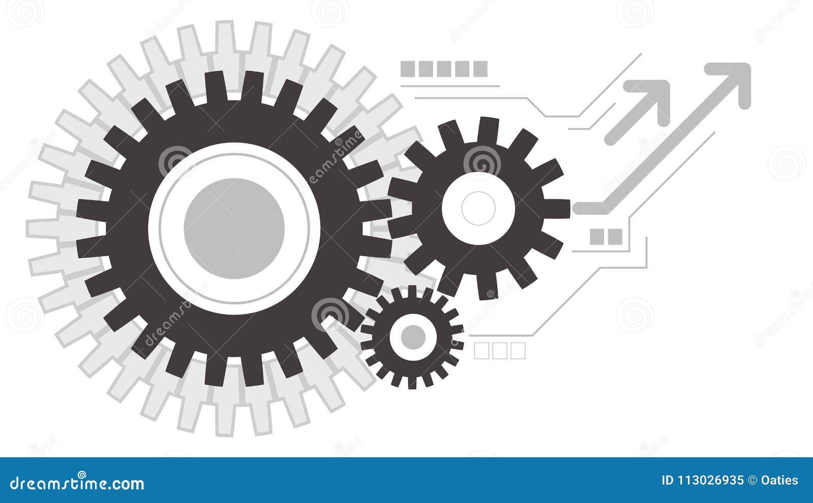 Fondo de trabajo creativo del icono de las ruedas de engranajes