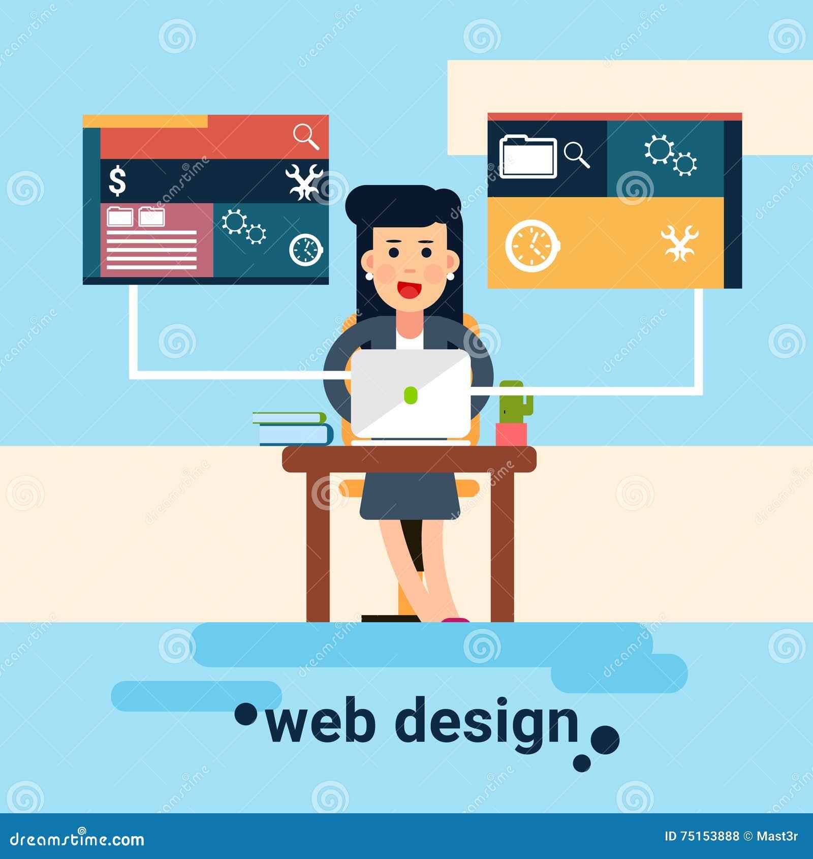 Fondo de Workplace Graphic Design del diseñador web de la mujer