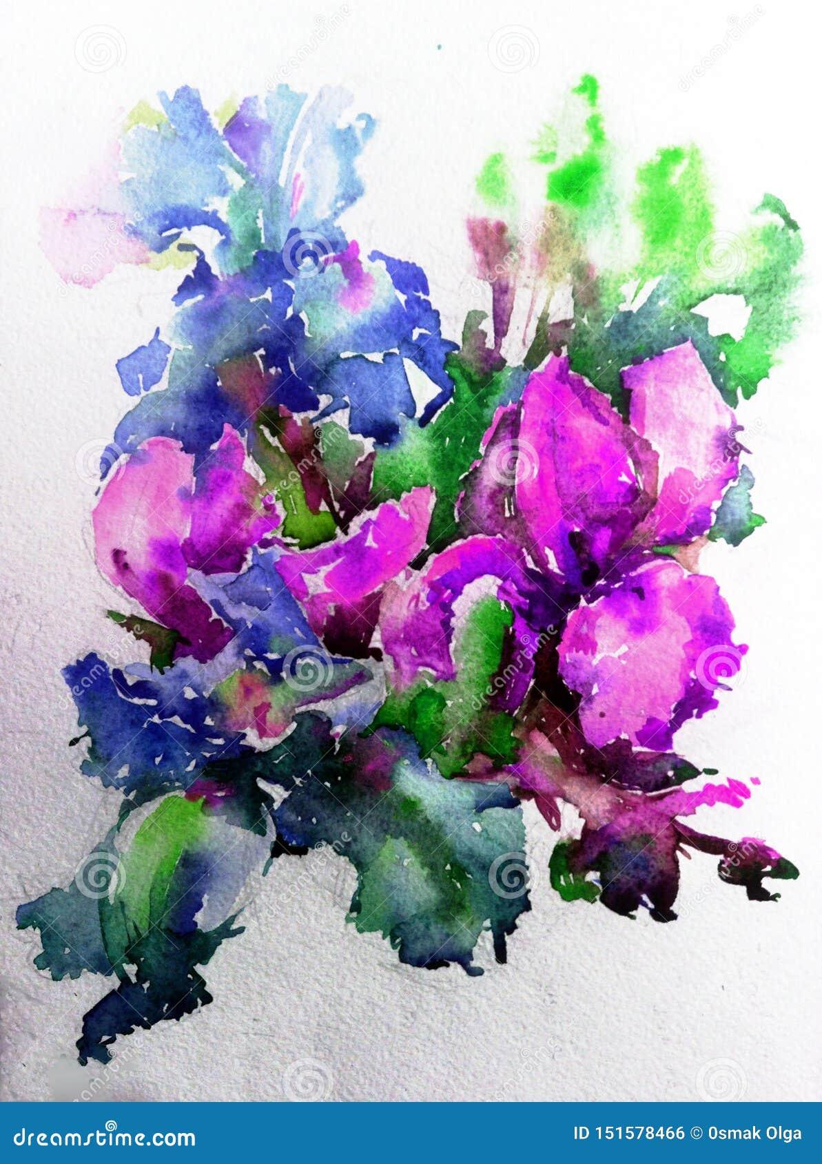 Fondo decorativo colorato luminoso astratto Modello floreale fatto a mano Bello mazzo romantico tenero dei fiori dell iride