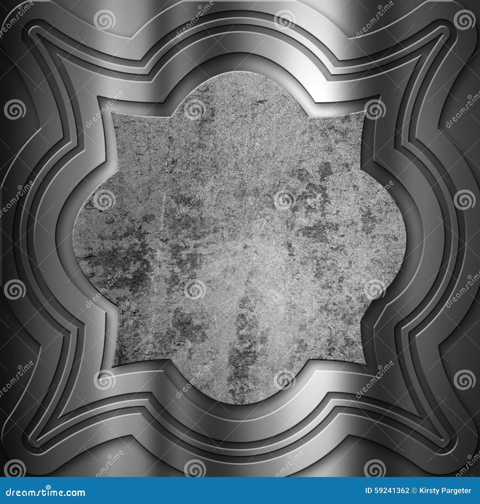Download Fondo Decorativo Del Metal Con El Centro Del Grunge Stock de ilustración - Ilustración de abollado, aluminio: 59241362