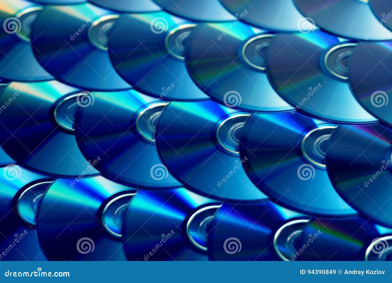 Fondo dei compact disc Parecchi Blu ray disc del dvd del CD Archiviazione di dati digitale registrabile o rewritable ottica