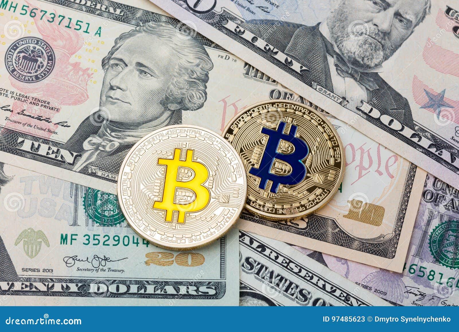 Fondo dei contanti del dollaro, banconota e bitco dorato di cruptycurrency