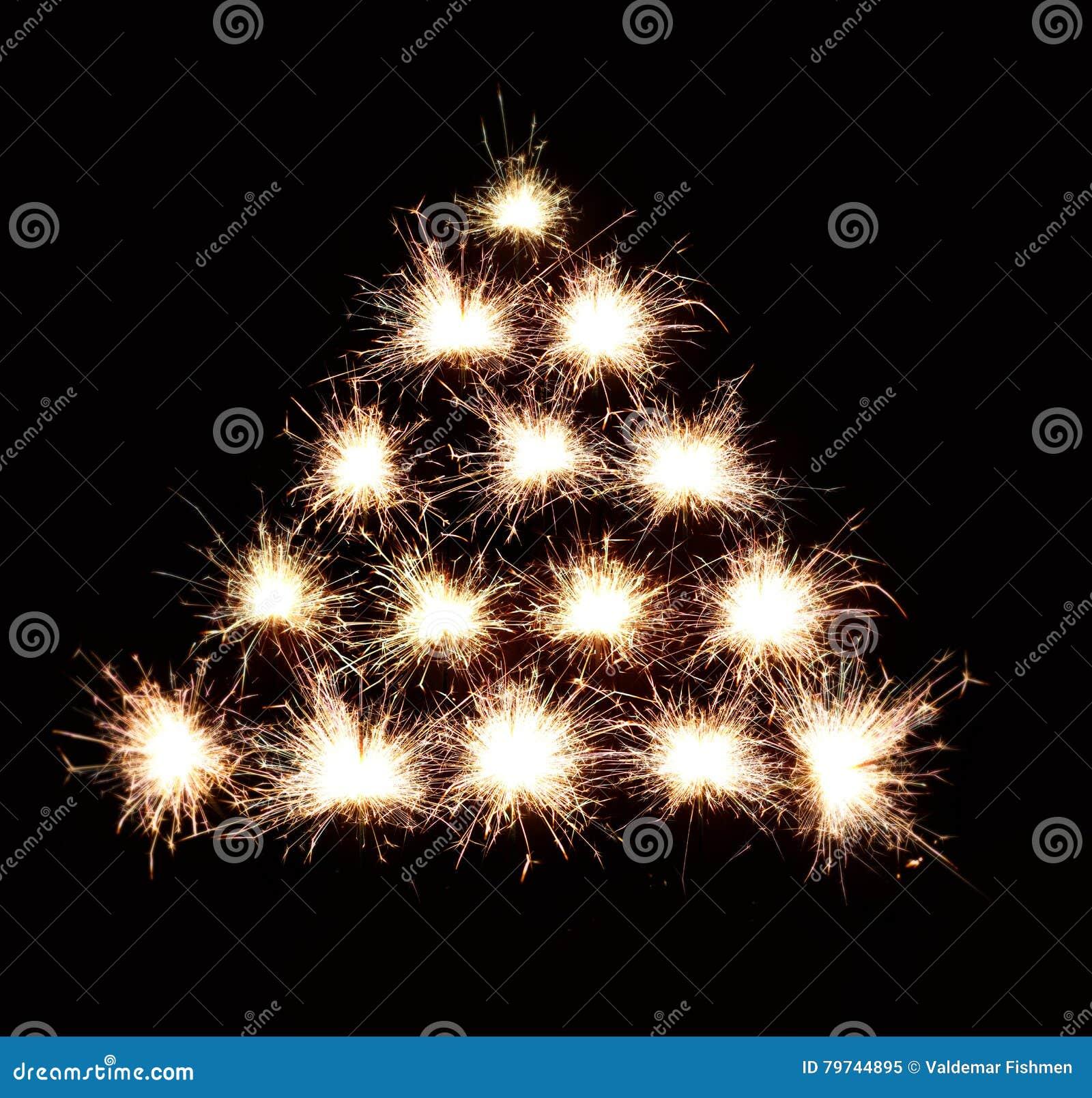 Fondo del árbol de navidad de fuegos artificiales