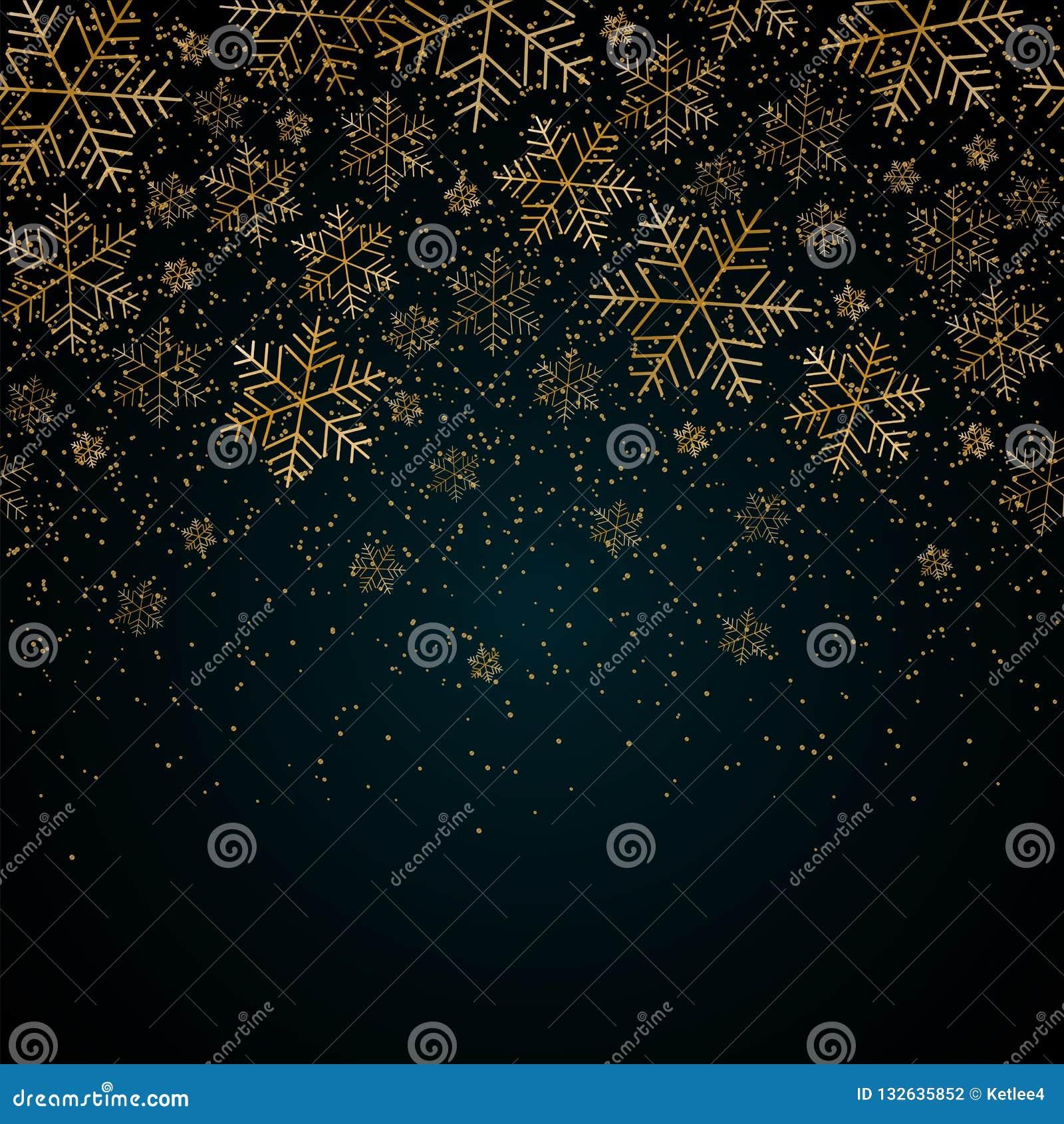 Fondo del Año Nuevo de la Navidad con los copos de nieve del oro y brillar modelo del invierno de la Navidad festiva azul del fon