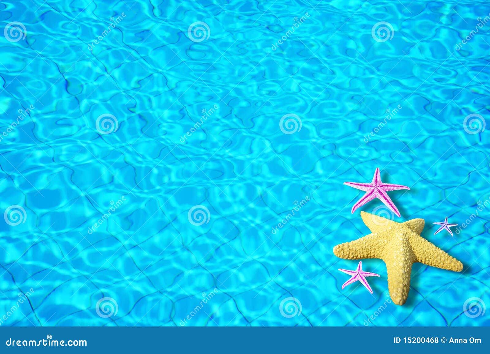Fondo del agua con las estrellas de mar stock de for Fondos animados de agua