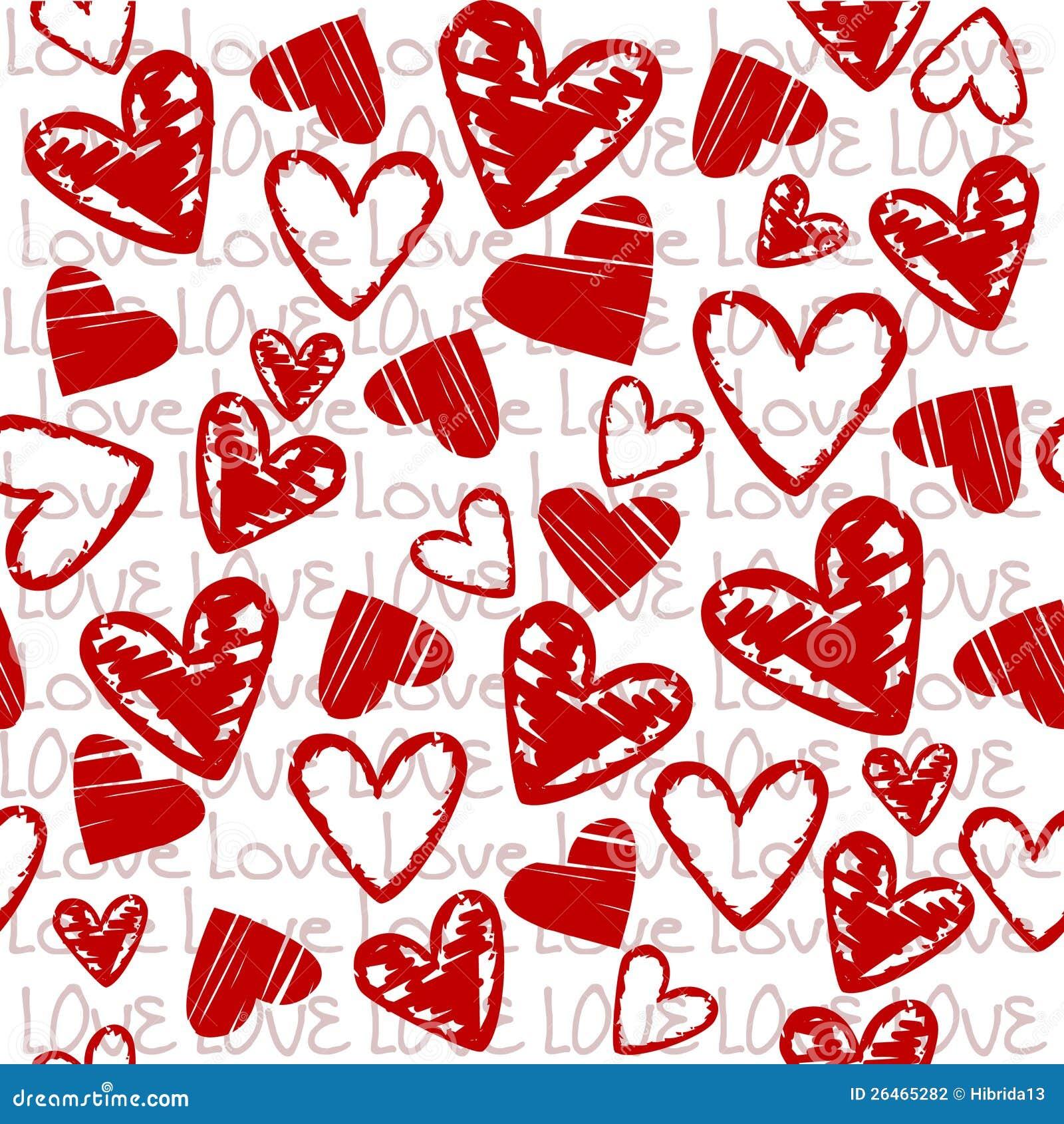 Fondo del amor con los corazones estilizados