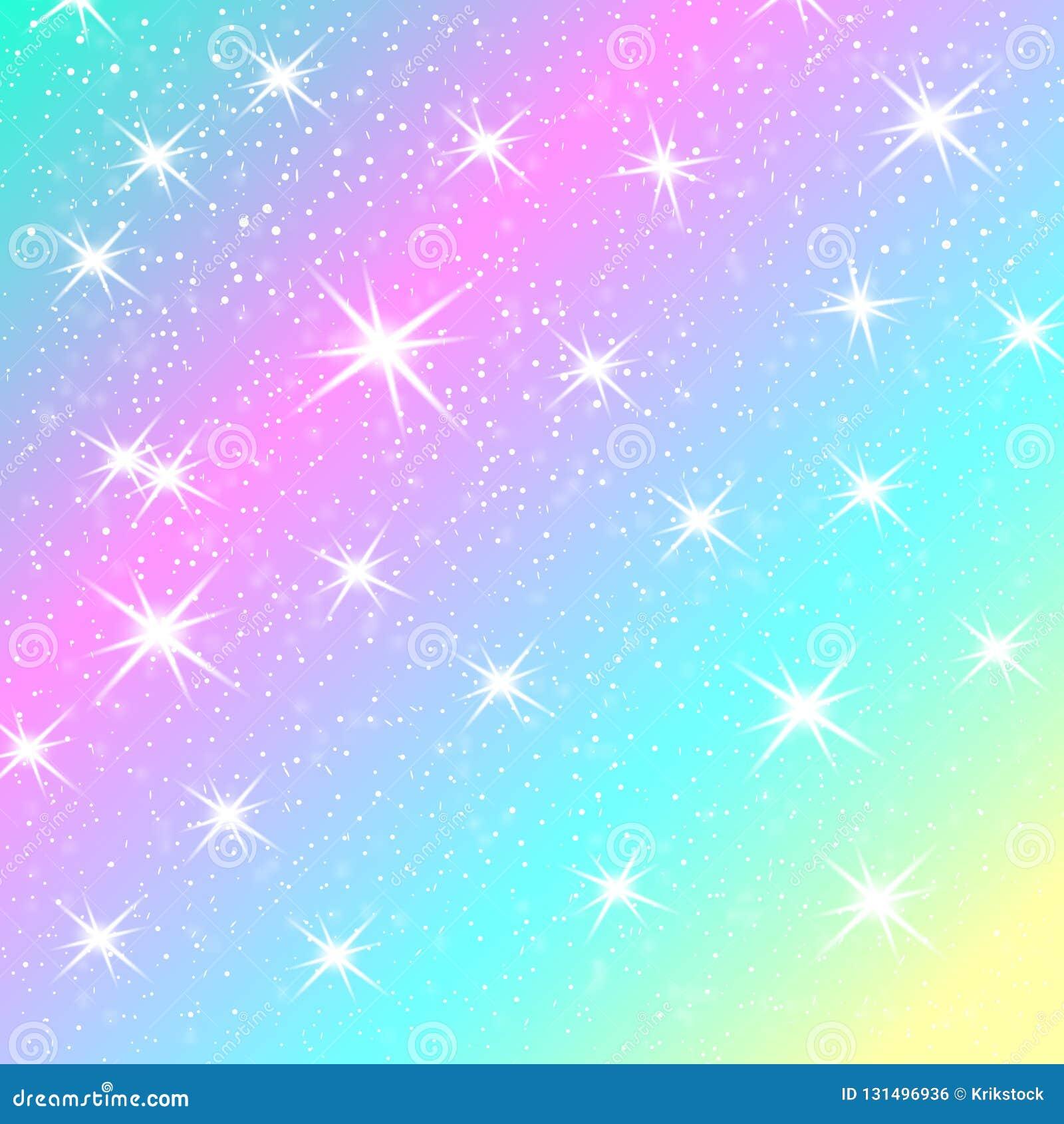 Fondo del arco iris del unicornio Cielo olográfico en color en colores pastel Modelo brillante de la sirena en colores de la prin