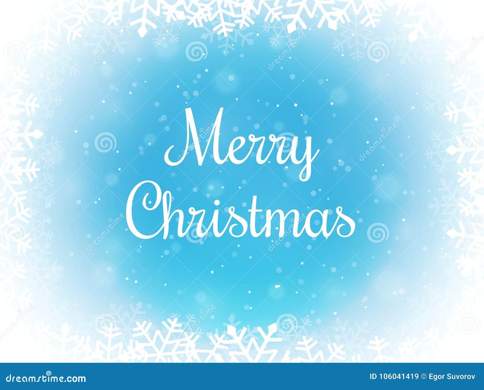 Fondo del bokeh de la Feliz Navidad Frontera de la nieve y del copo de nieve Contexto del invierno Ilustración del vector
