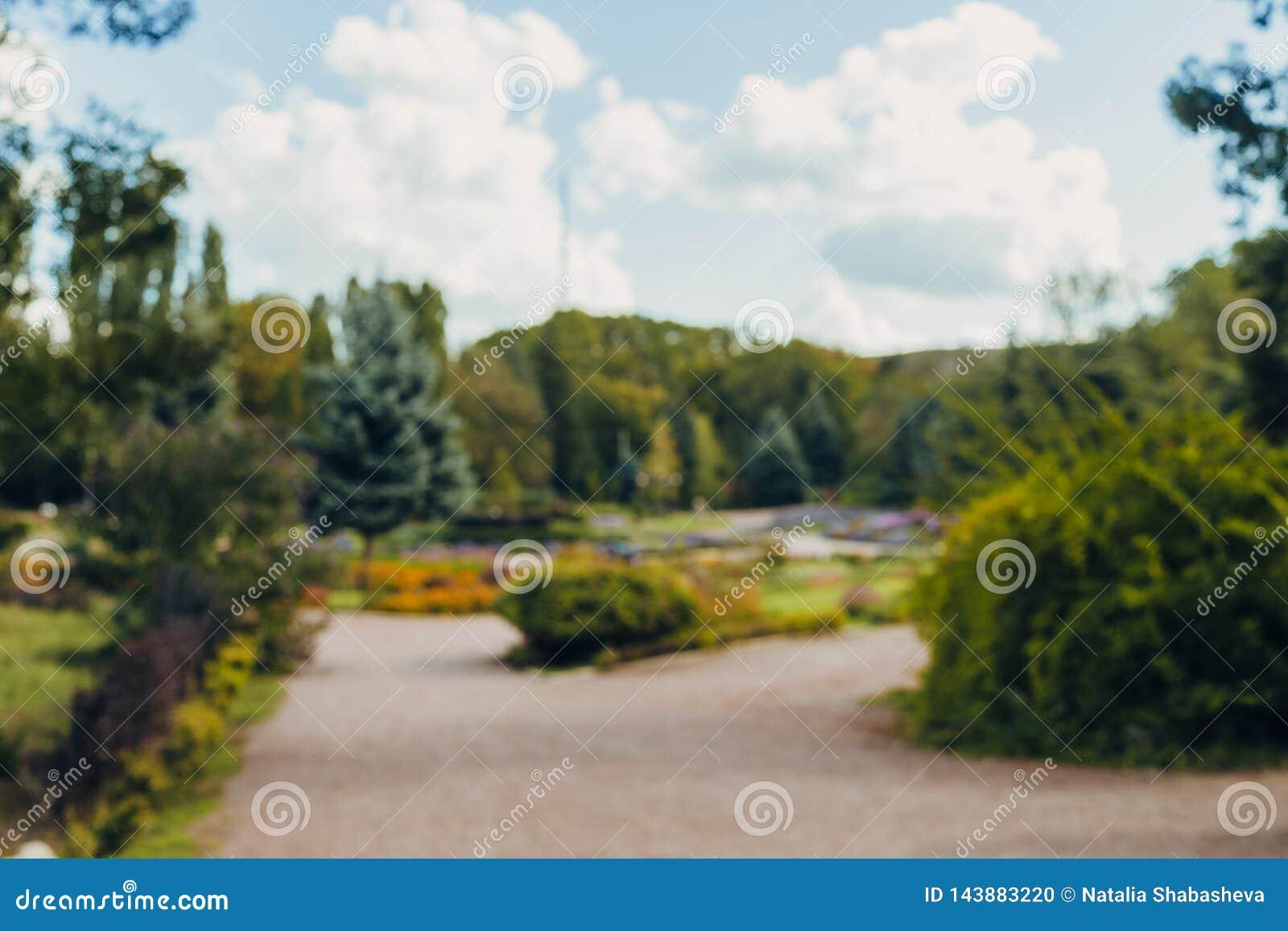 Fondo del bokeh del parco della città del paesaggio della sfuocatura dell estratto bello con luce solare di giorno