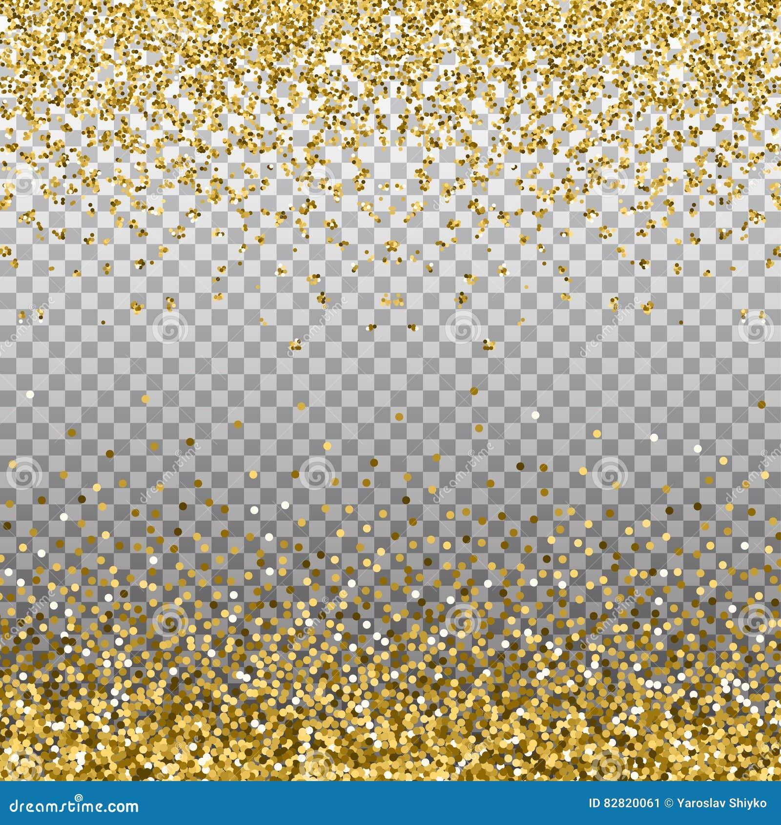 Fondo del brillo del oro Chispas de oro en la frontera La plantilla para el día de fiesta diseña, invitación, partido, cumpleaños