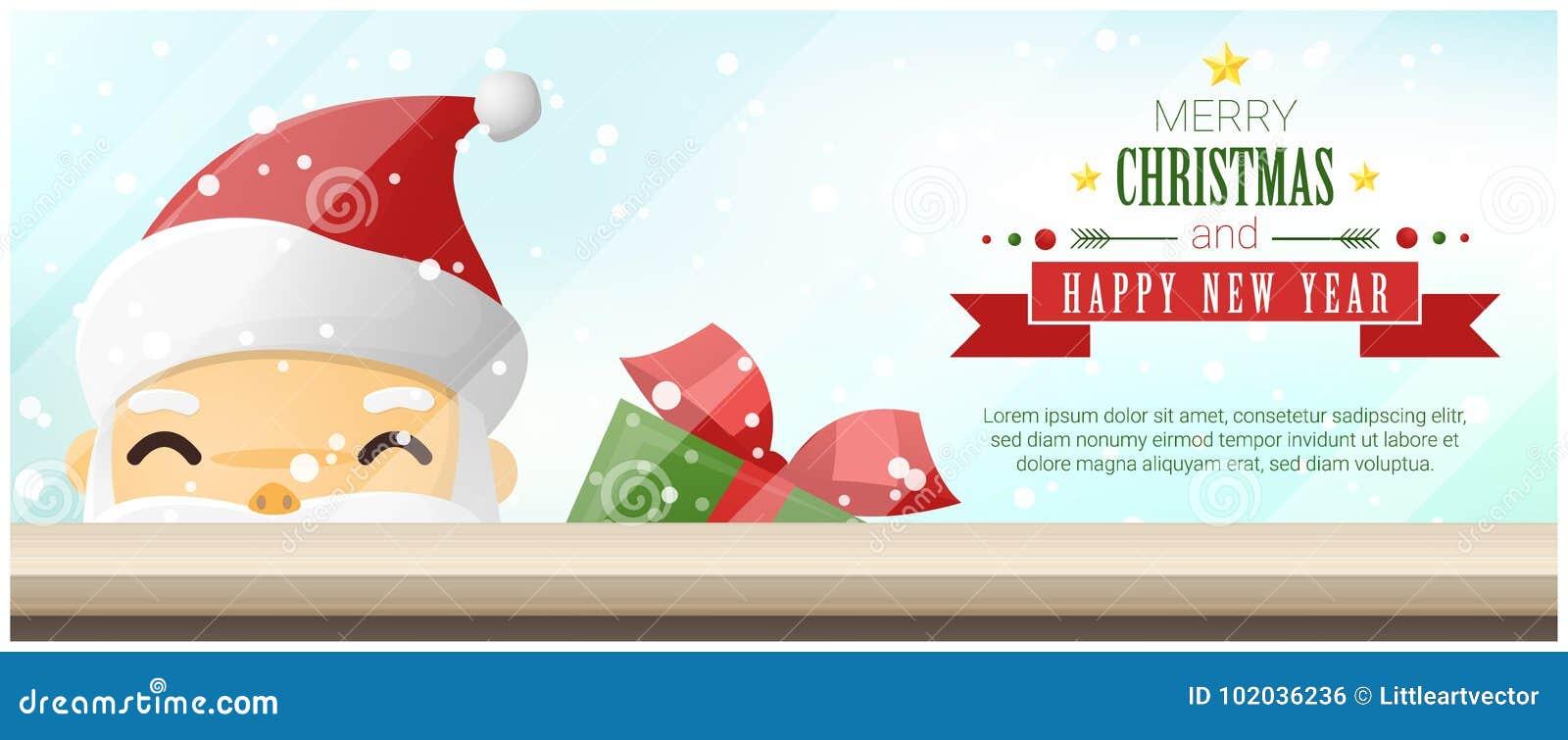 Fondo del buon anno e di Buon Natale con Santa Claus che sta dietro la finestra