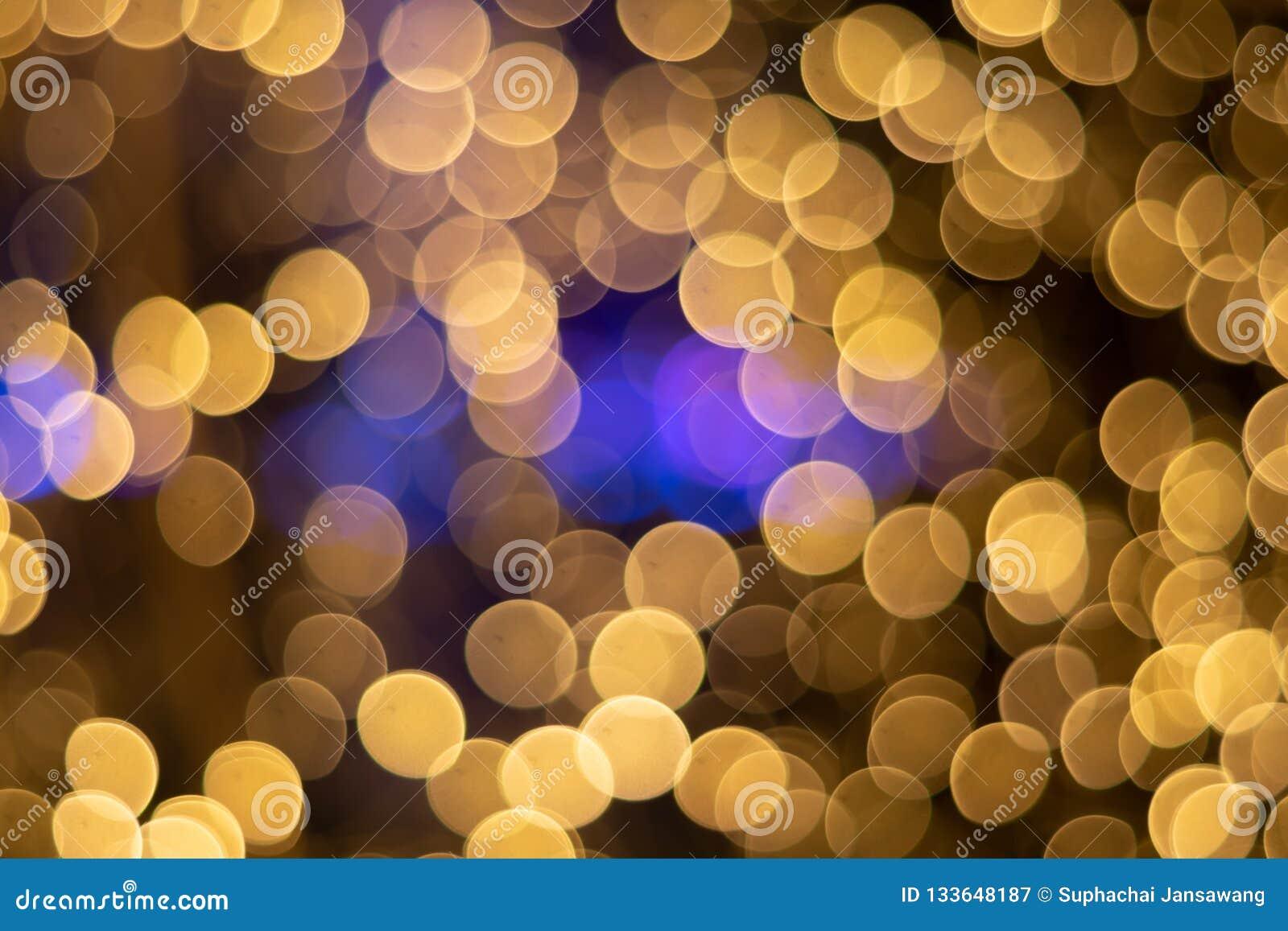 Fondo del círculo de la luz del oro de Bokeh de los ฺChristmas Luz hermosa