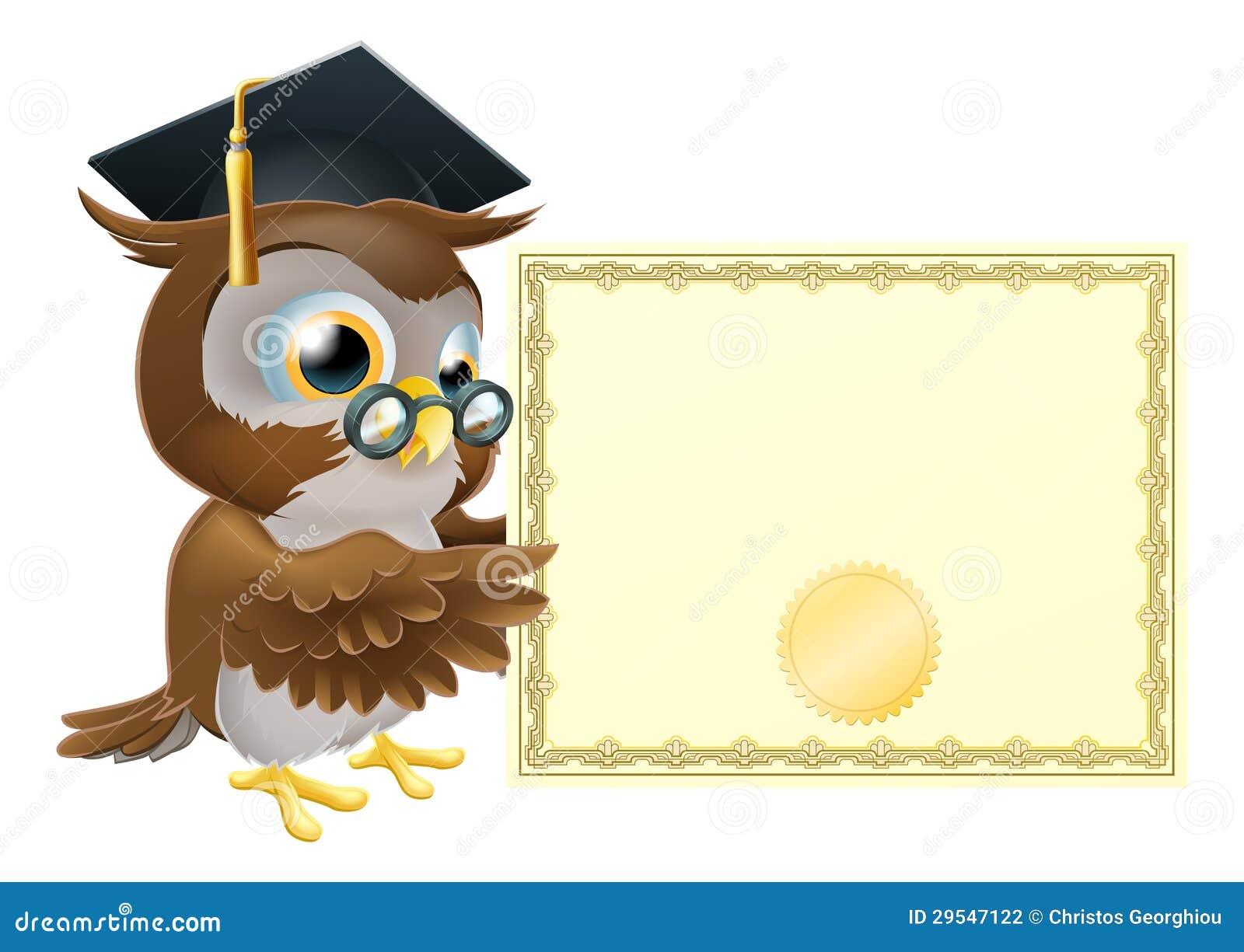Fondo Del Certificado Del Diploma Del Búho Ilustración del Vector ...