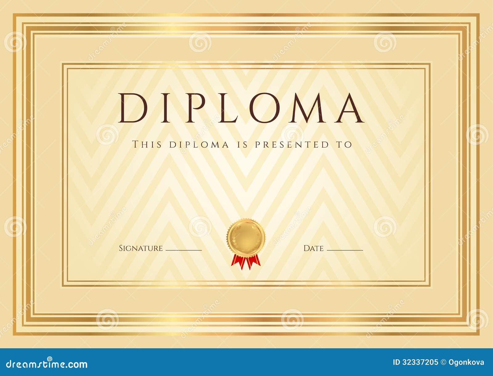 Plantilla De Oro Del Certificado/del Diploma Imagen de archivo ...