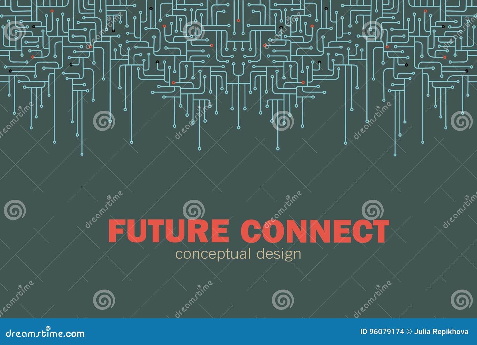 Fondo del circuito electrónico Spu Líneas diseño del circuito Concepto futuro