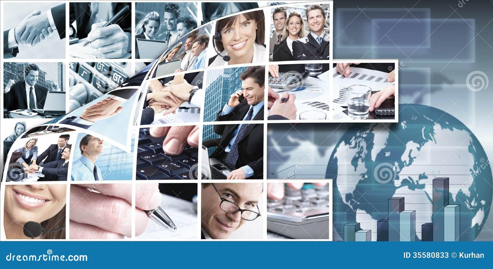 Fondo del collage del equipo del negocio.
