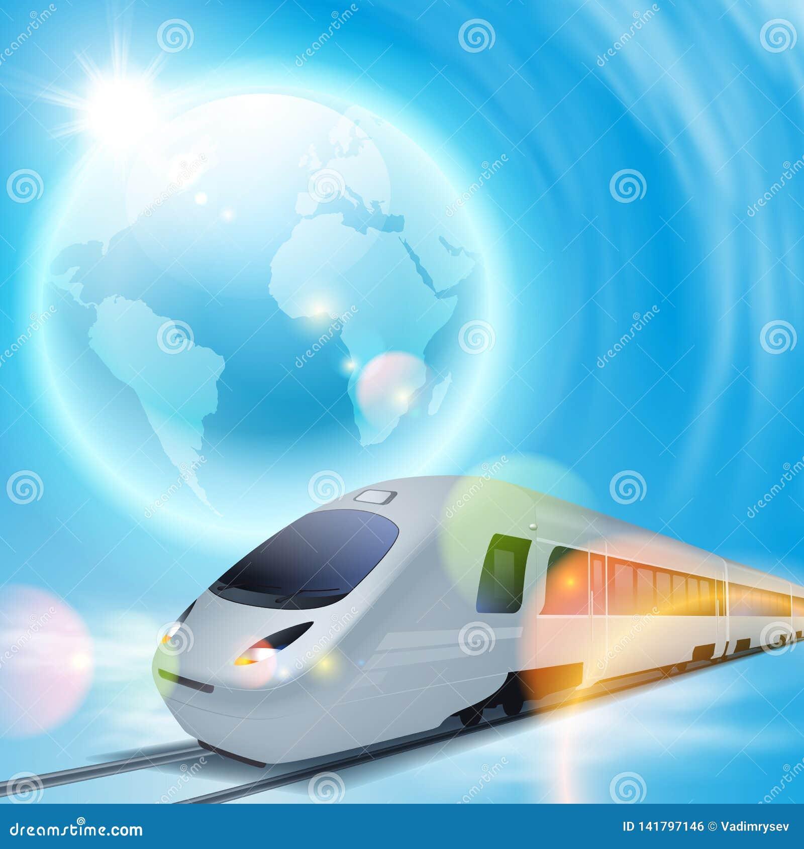 Fondo del concepto con el tren de alta velocidad y el globo