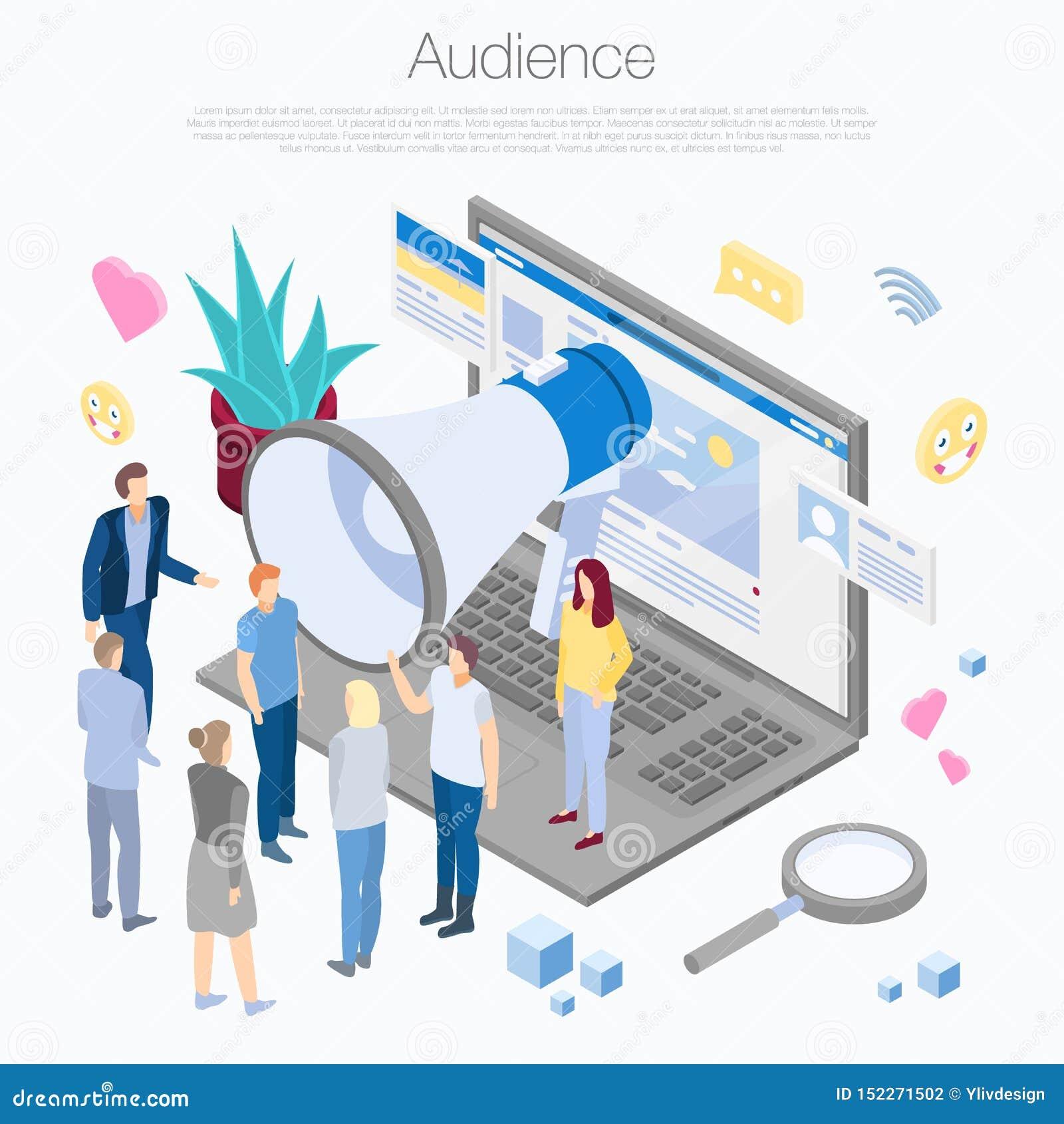 Fondo del concepto de la audiencia, estilo isométrico