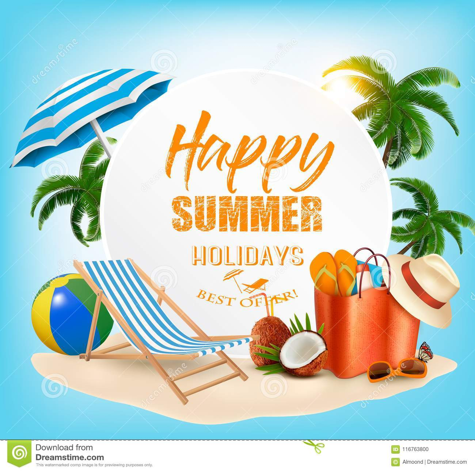Fondo Del Concepto De Las Vacaciones De Verano Ilustración Del