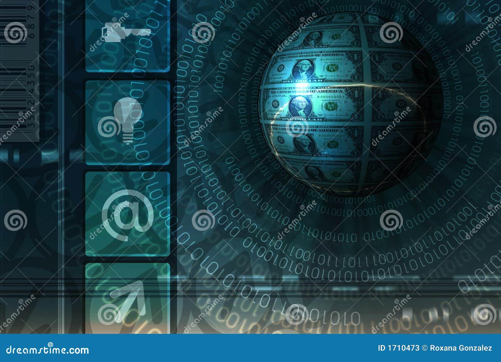 Fondo del concepto del comercio electrónico - azul