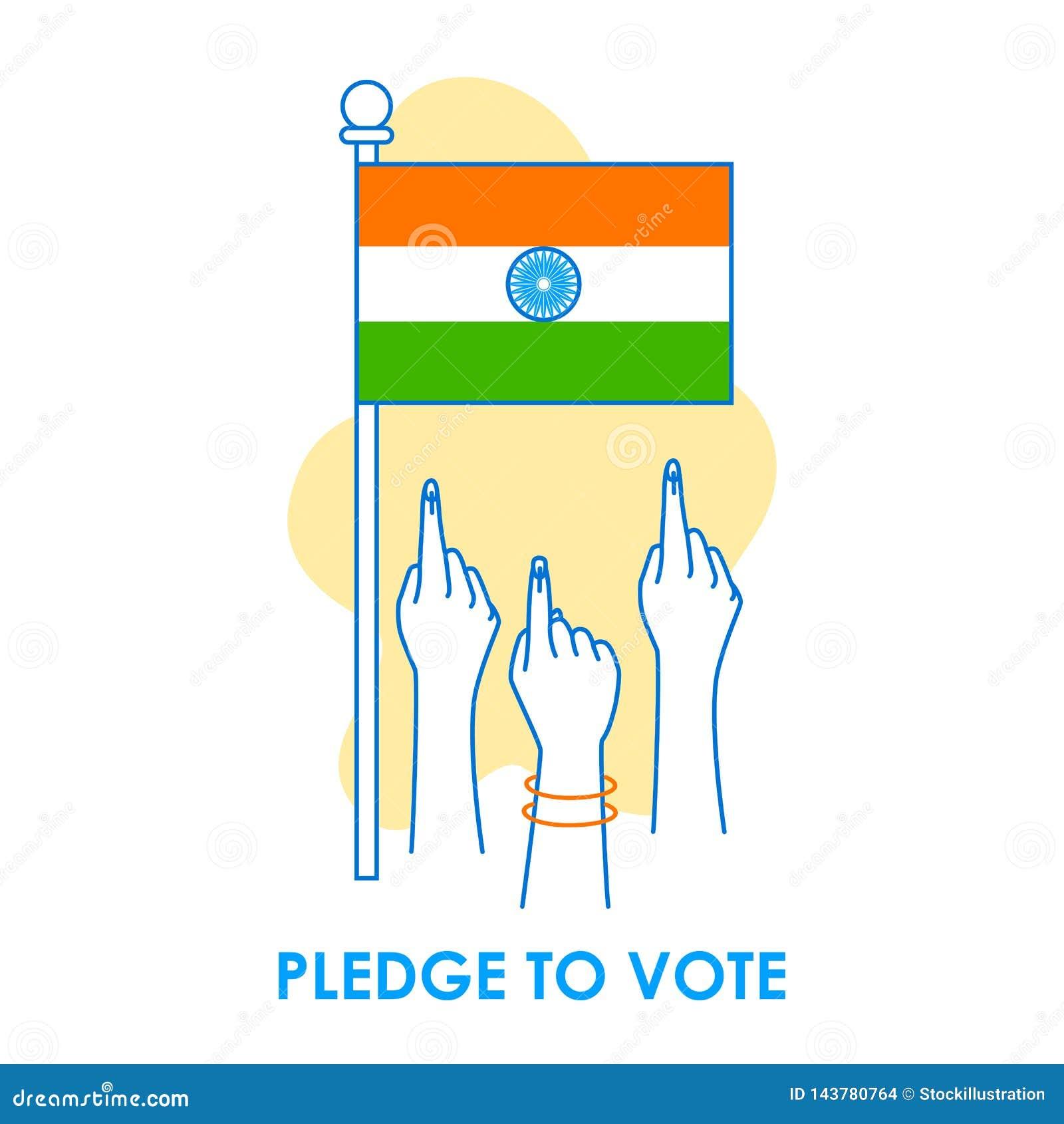 Fondo del concepto para el voto la India para la bandera de la campaña de la democracia de la elección