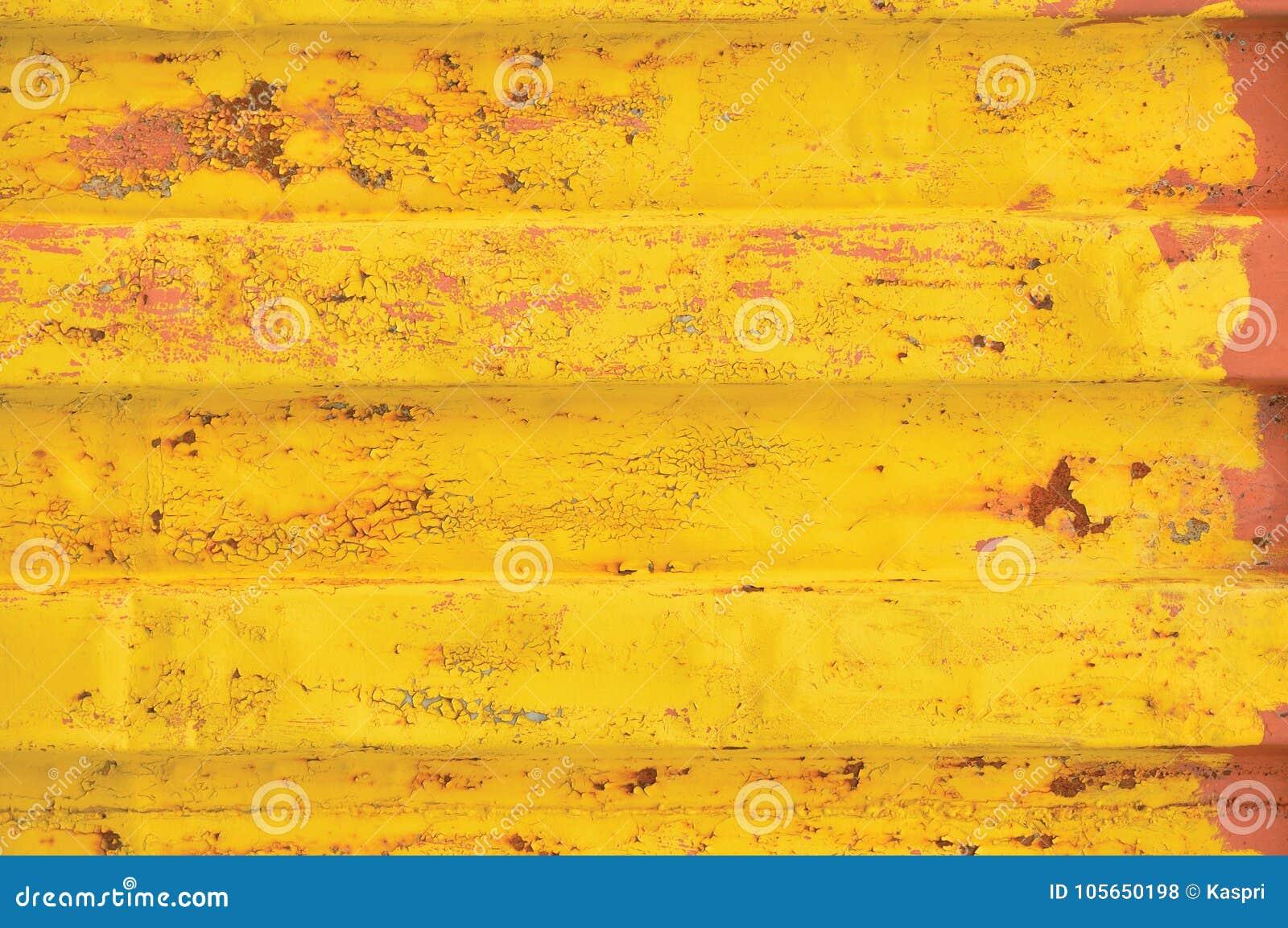 Fondo del contenedor de Yellow Sea, modelo acanalado oxidado, capa roja de la cartilla, textura de acero detallada aherrumbrada h