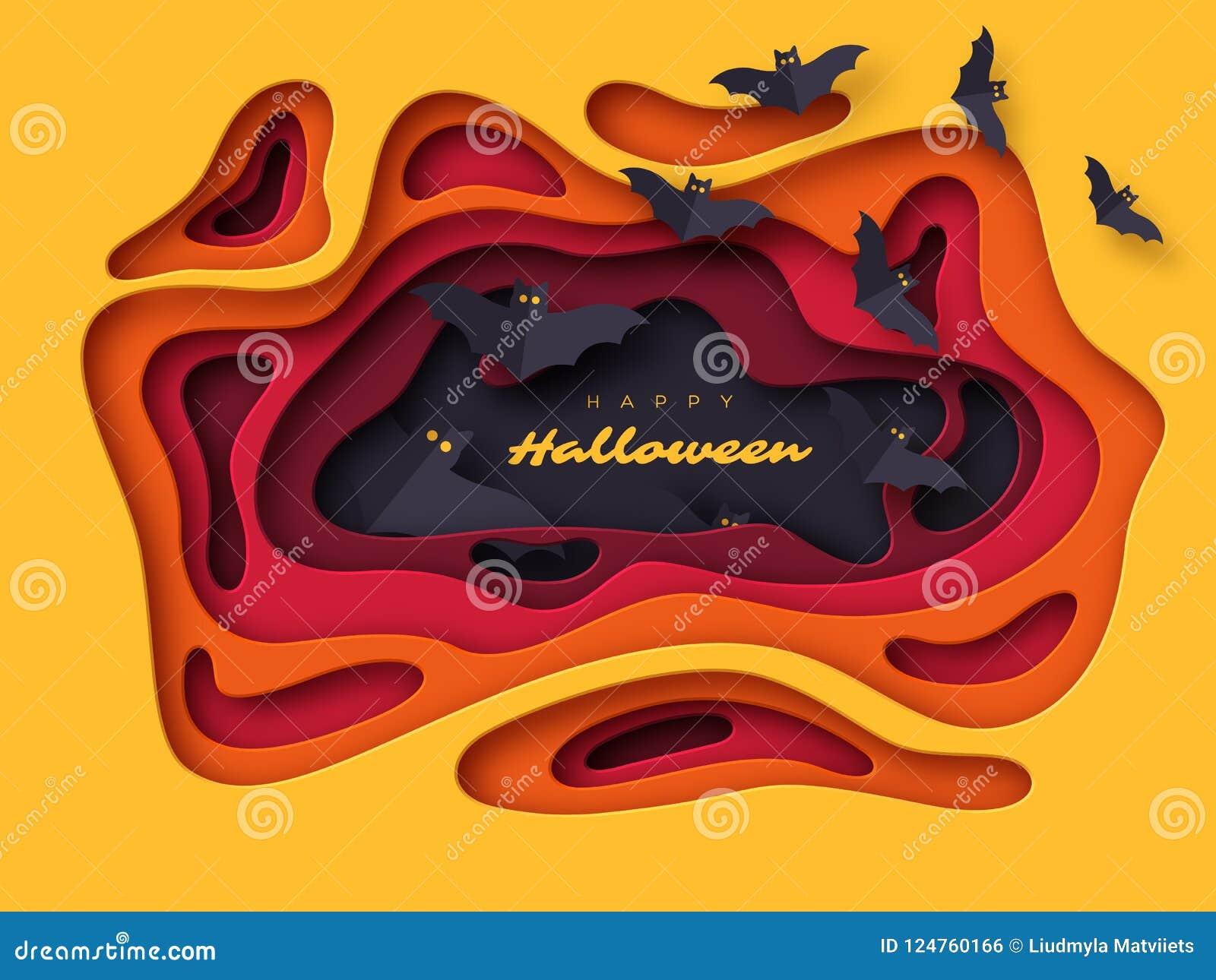 Fondo del día de fiesta de Halloween El papel cortó formas abstractas del estilo con los palos del vuelo efecto acodado 3d, ejemp