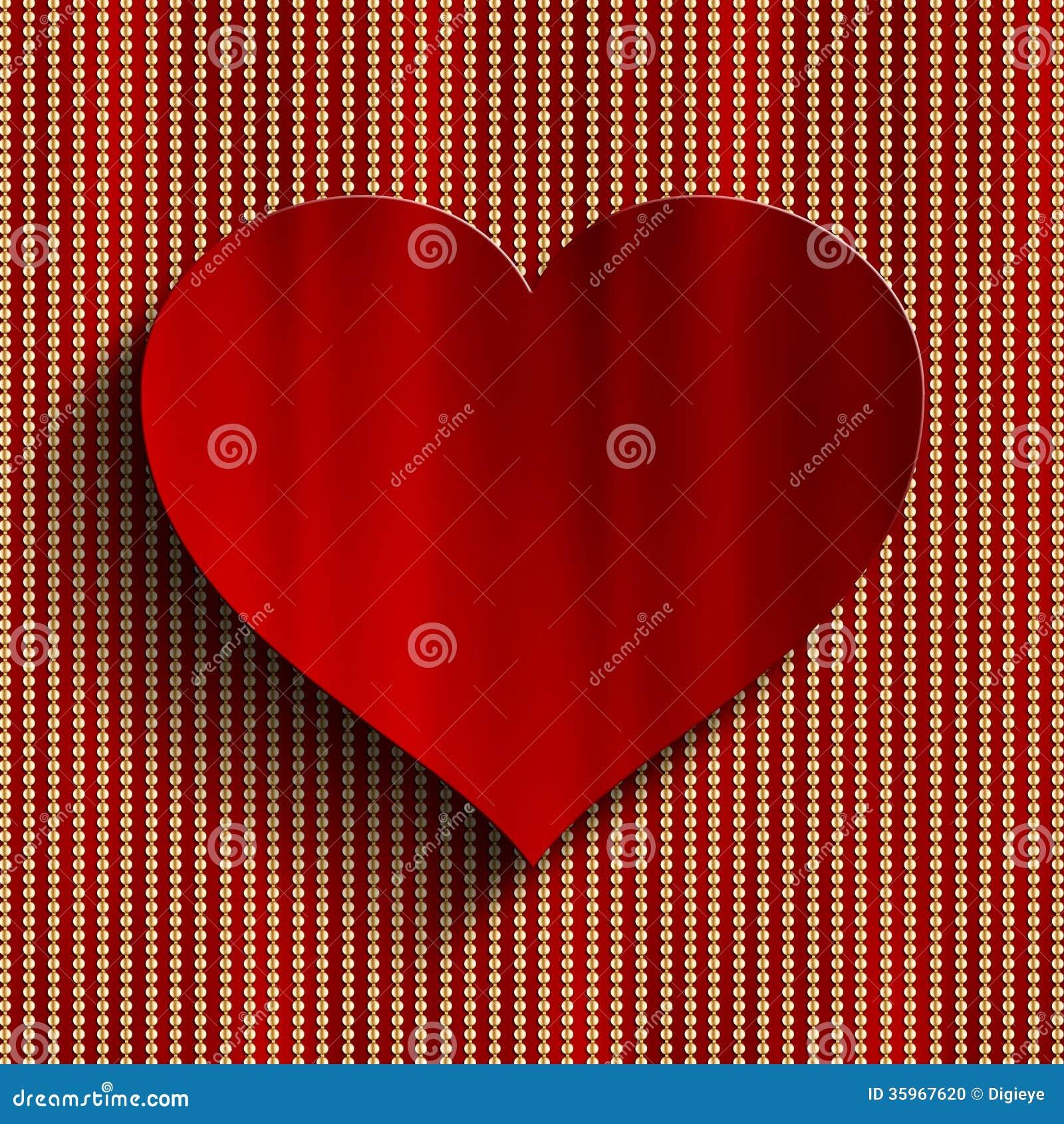 Fondo del día de tarjeta del día de San Valentín - corazón rojo
