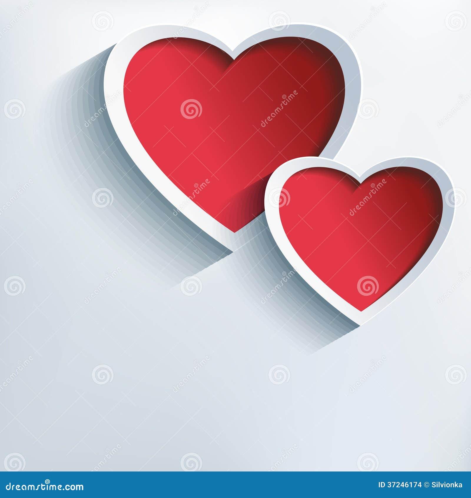 Fondo del día de tarjetas del día de San Valentín con dos corazones 3d