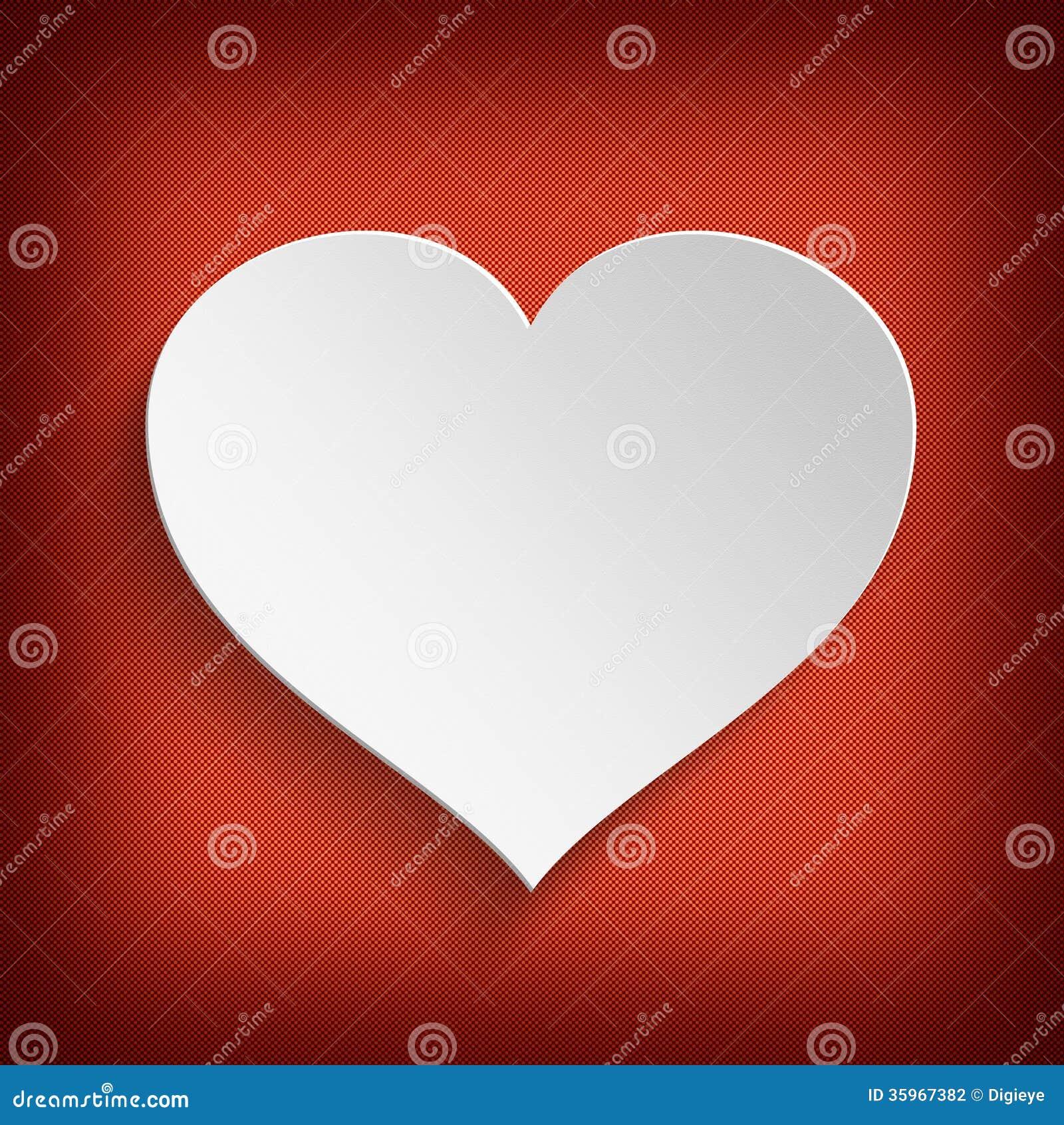 Fondo del día de tarjetas del día de San Valentín - corazón blanco en fondo rojo