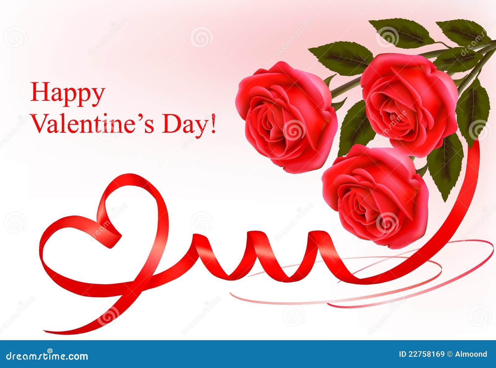 Fondo del día del `s de la tarjeta del día de San Valentín. El rojo se levantó con las cintas