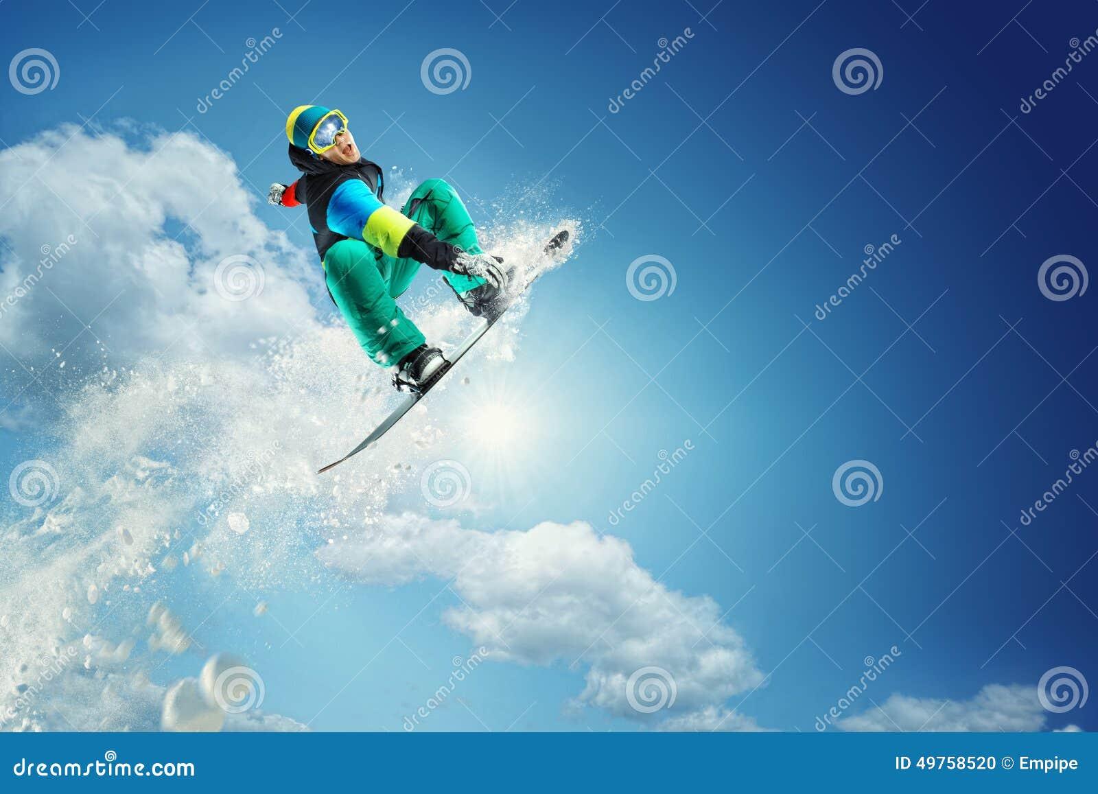 Fondo del deporte Snowboarder extremo