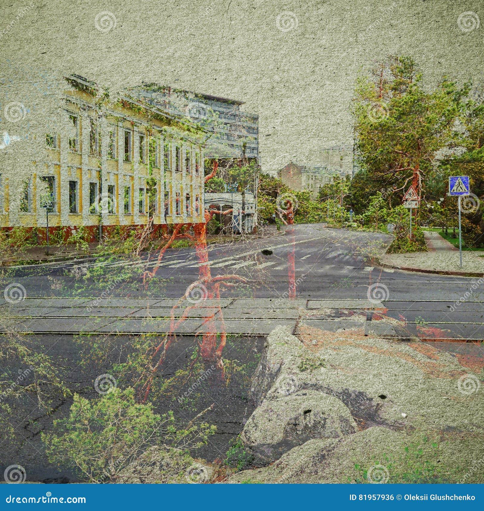 Fondo del extracto de la ecología de la fantasía Paisaje urbano mezclado con el natural en la textura de papel
