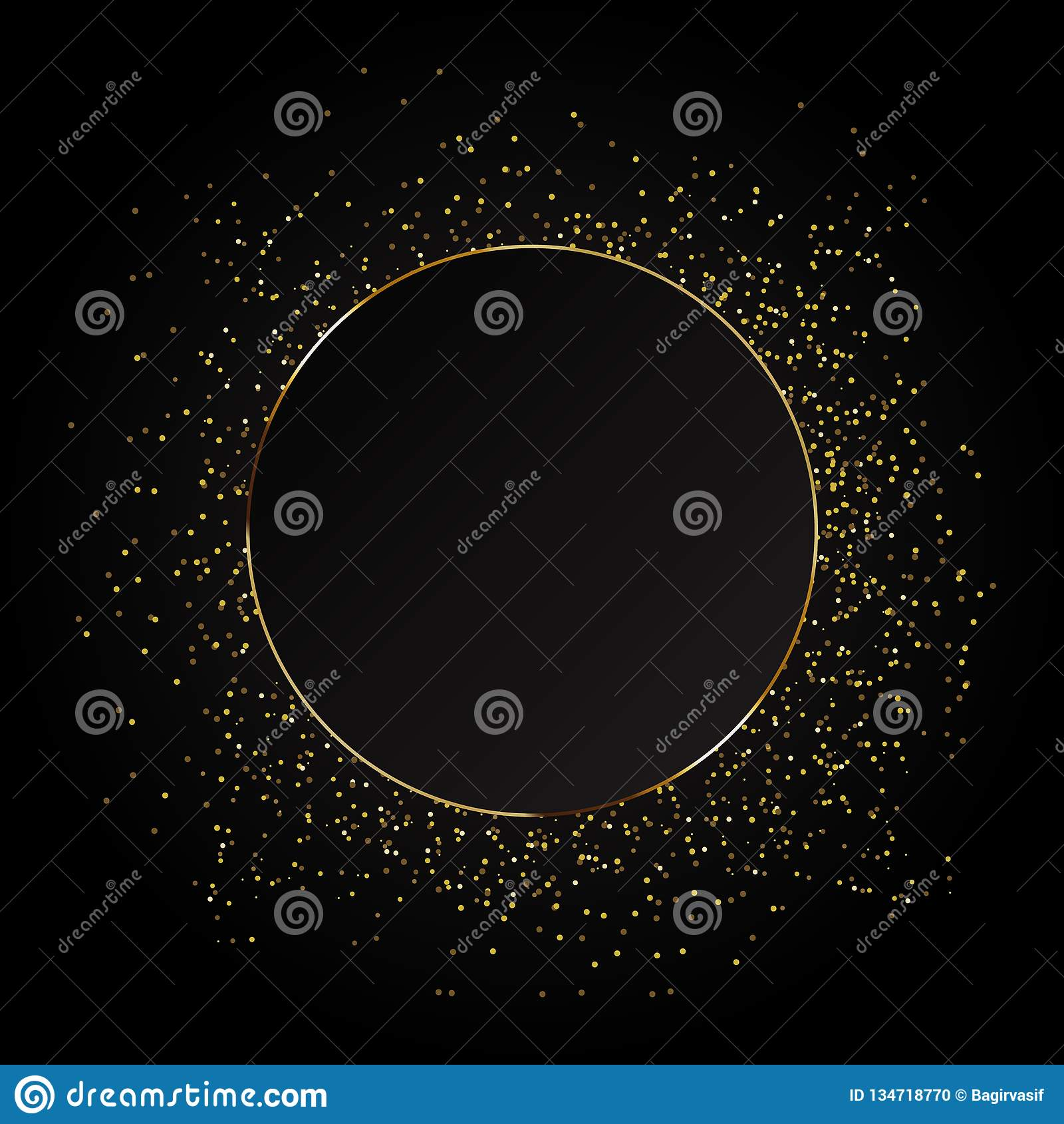 Fondo del extracto de la onda del brillo del oro, chispas del oro en un fondo negro, plantilla del diseño del VIP
