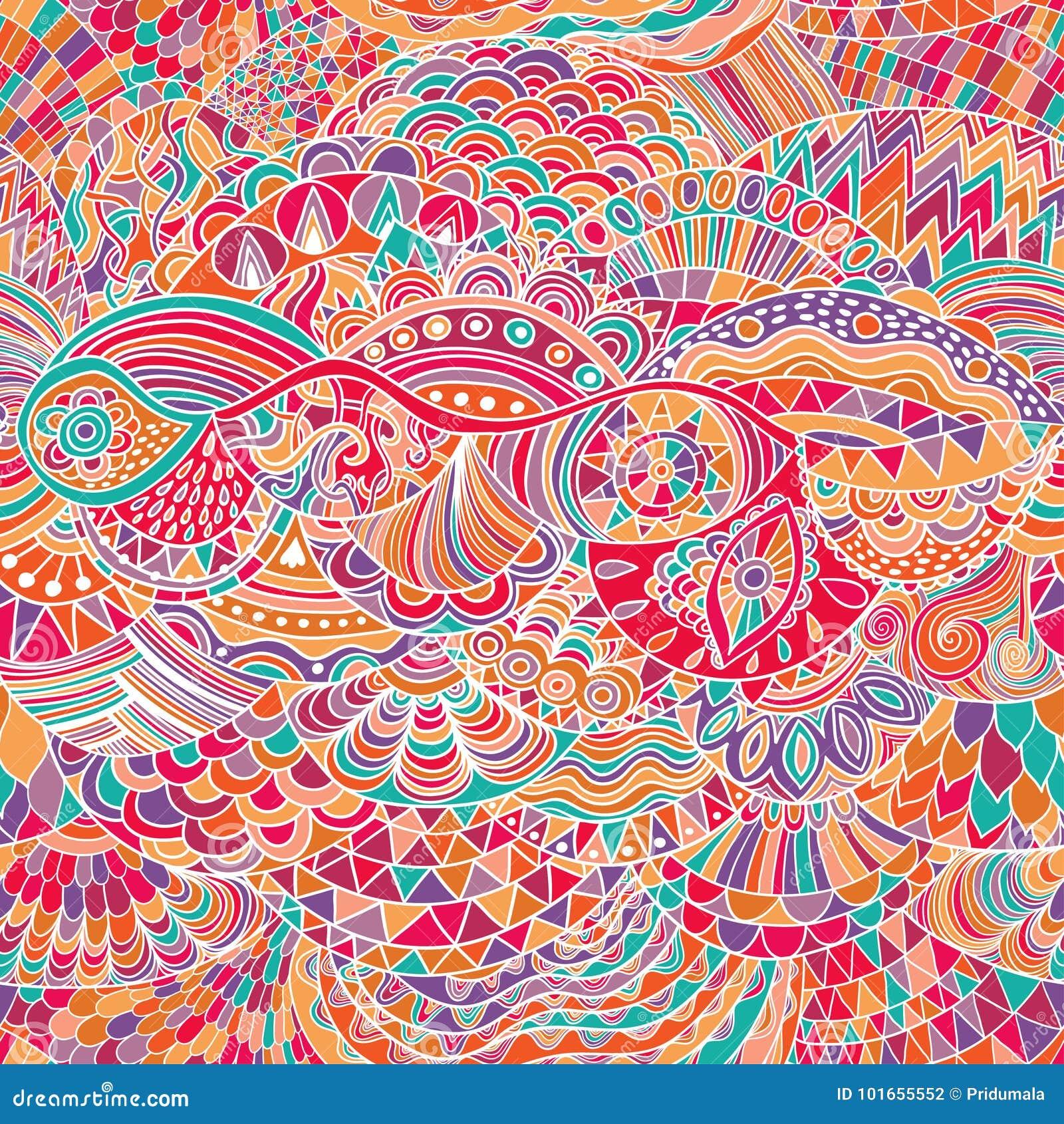 Fondo del extracto del modelo del vector con el ornamento colorido Ejemplo del drenaje de la mano, zentangle del libro de colorea