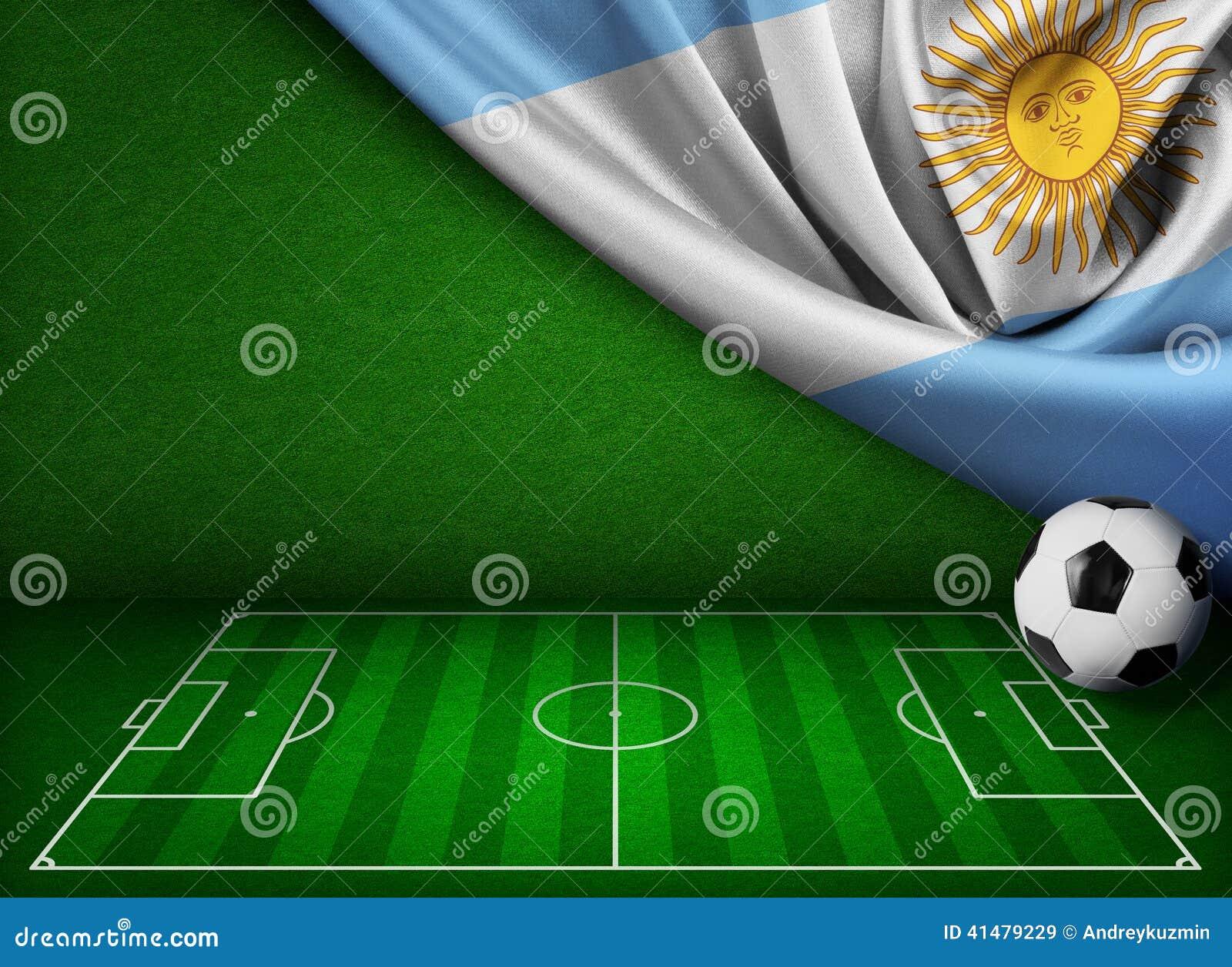 Fondo del fútbol o del fútbol con la bandera de la Argentina