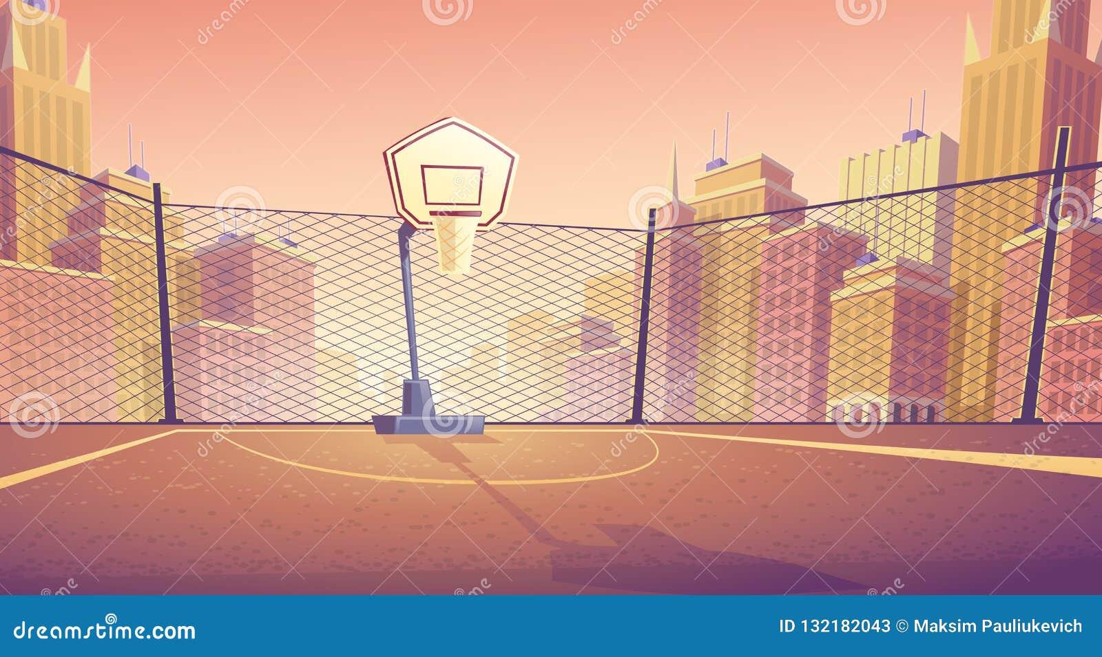 Fondo del fumetto di vettore del campo da pallacanestro della via