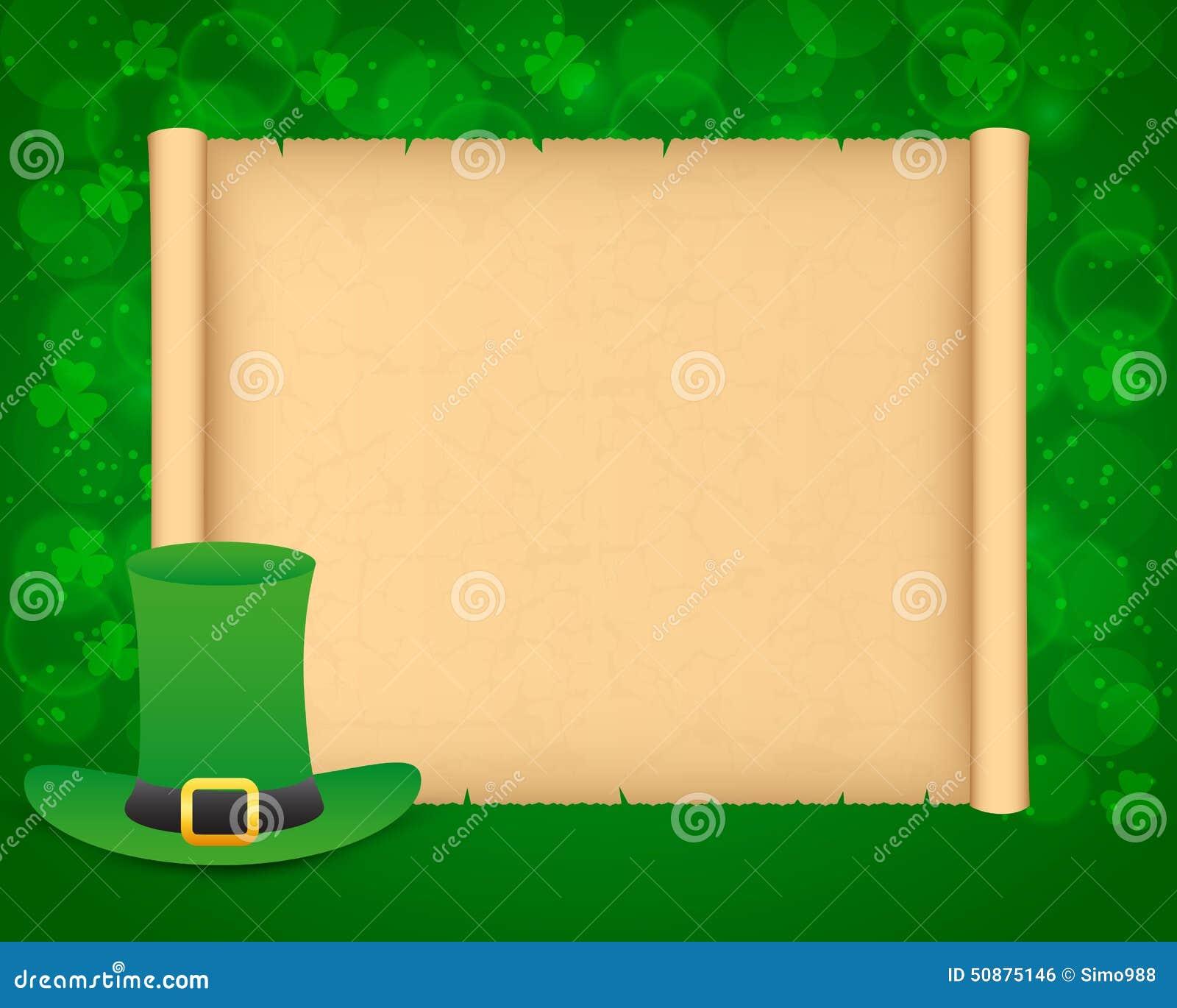 Fondo del giorno di st patrick con pergamena illustrazione - St patricks giorno fogli di colore giorno ...