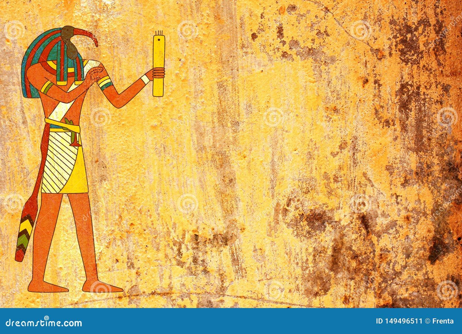 Fondo del Grunge con la imagen egipcia de Toth de dios