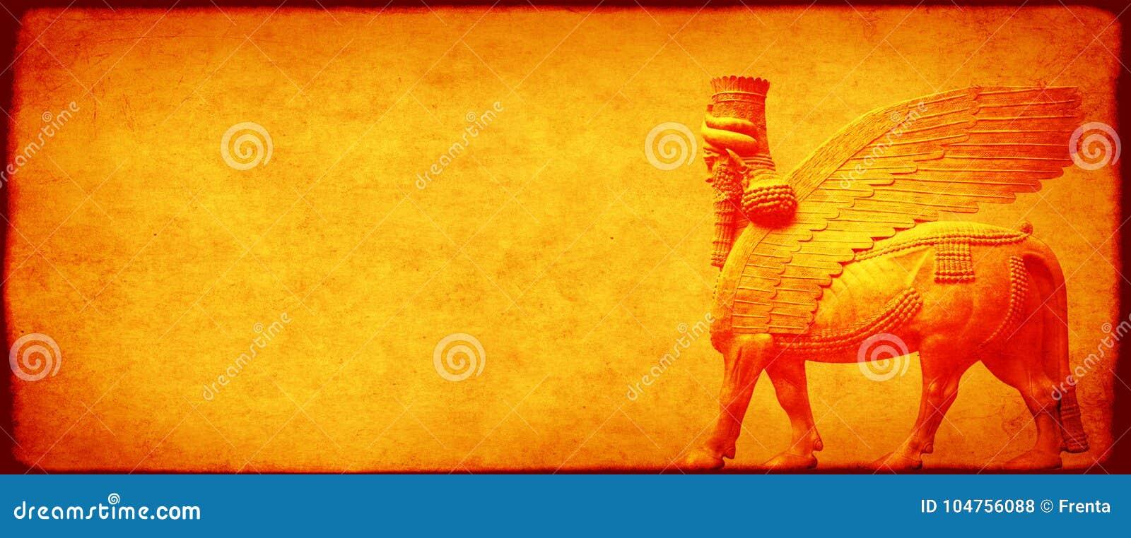 Fondo del Grunge con la textura y el lamassu de papel