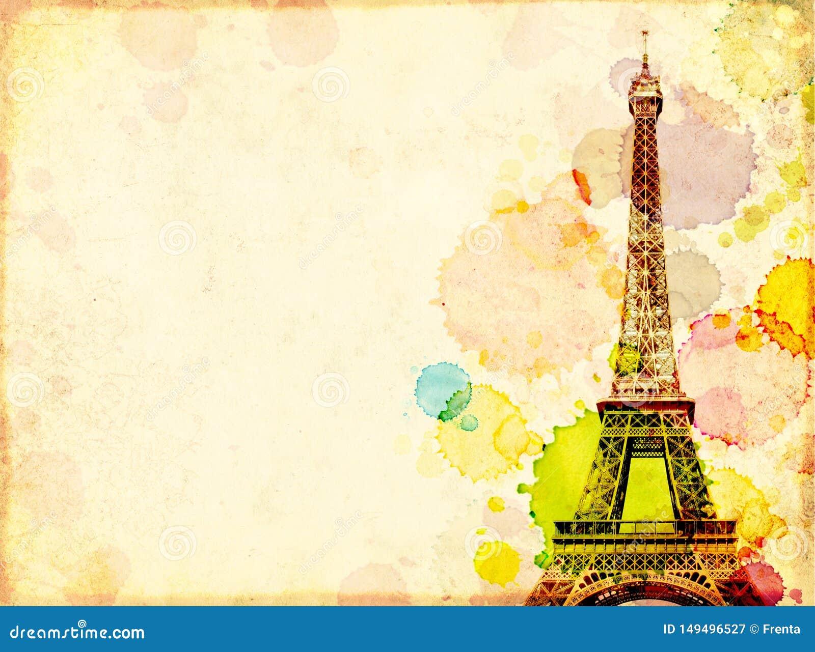 Fondo del Grunge con vieja textura de papel, manchas de la pintura y torre Eiffel