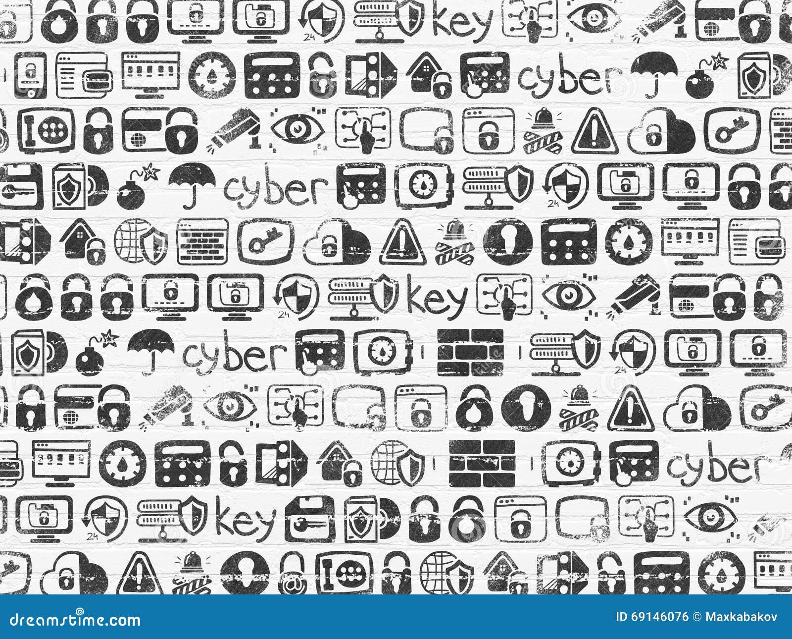 Fondo del Grunge: Textura blanca de la pared de ladrillo con los iconos dibujados mano pintados de la seguridad