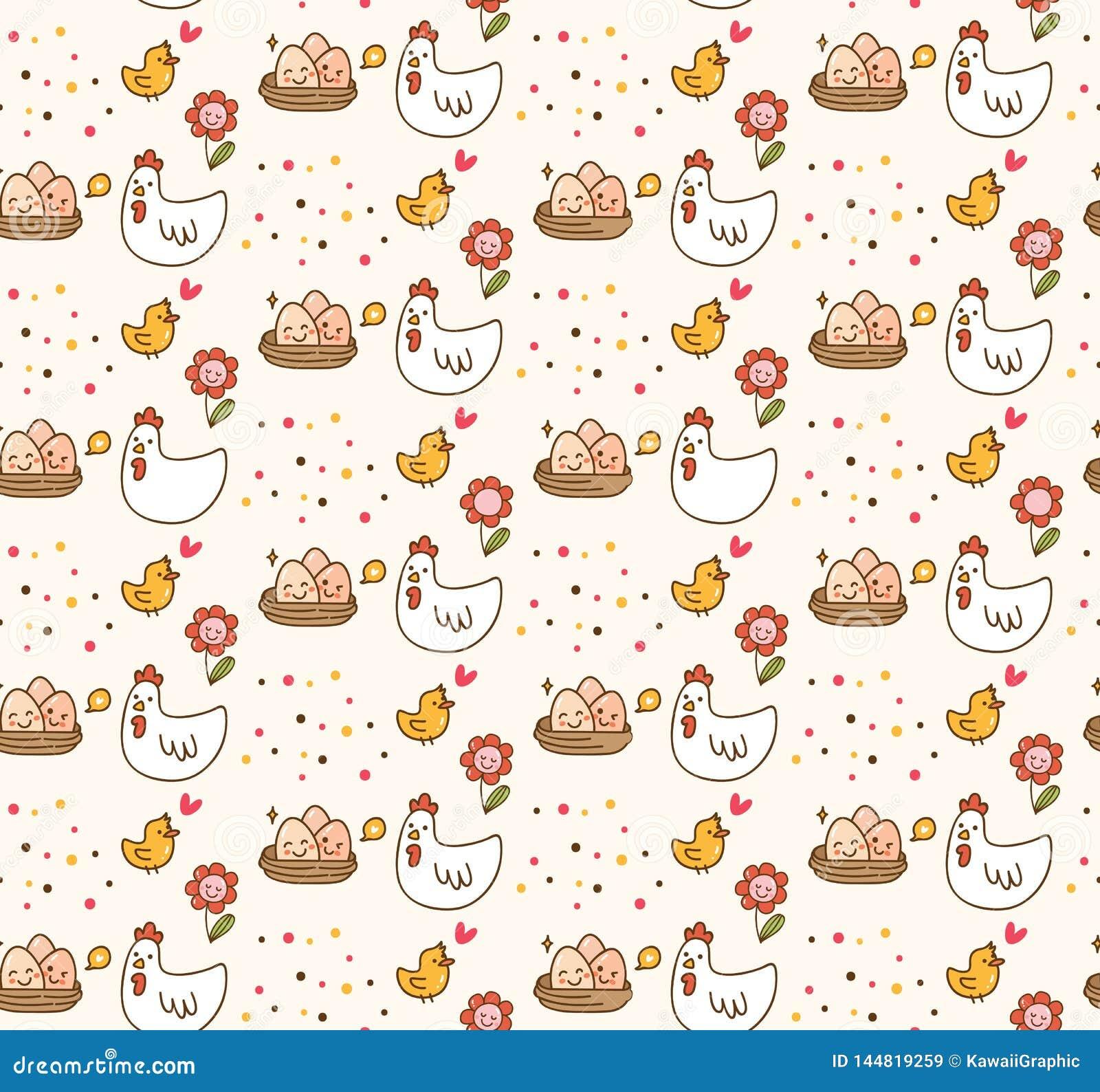 Fondo del kawaii del pollo y del huevo