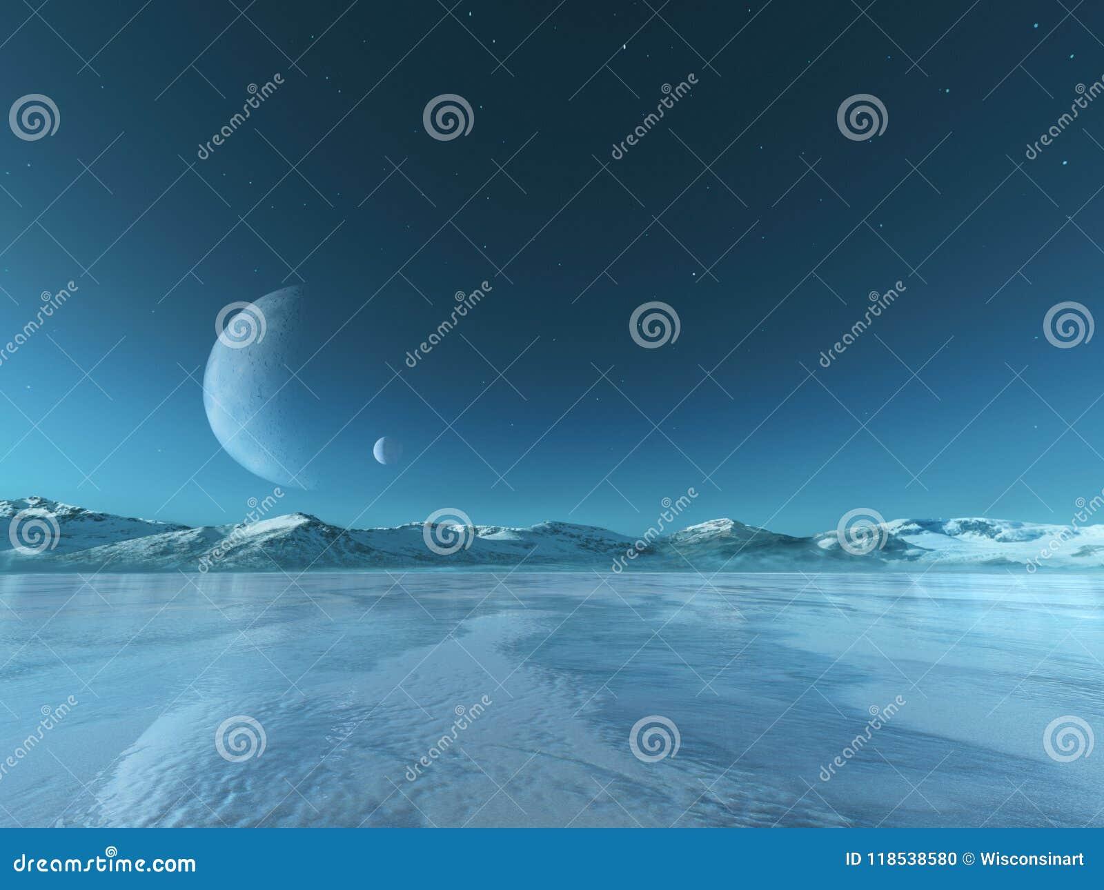 Fondo del lago congelato pianeta straniero, inverno