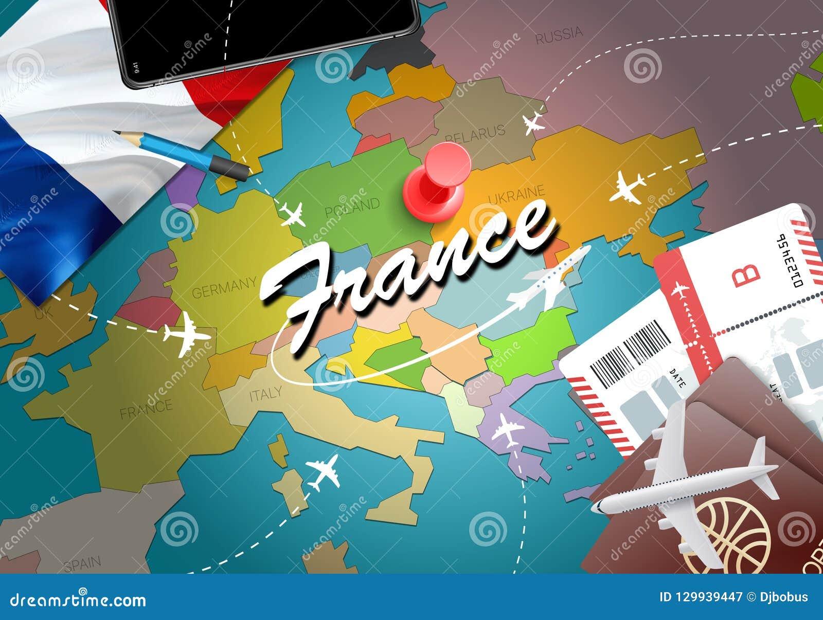 Mapa Turistico De Francia.Fondo Del Mapa Del Concepto Del Viaje De Francia Con Los