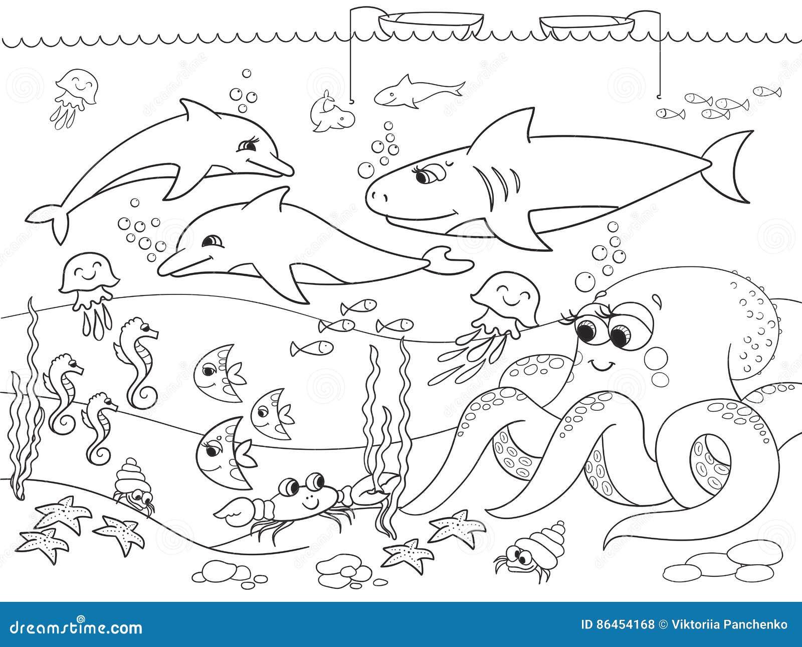 Fondo Del Mar Con Los Animales Marinos Colorante Para Los Niños ...