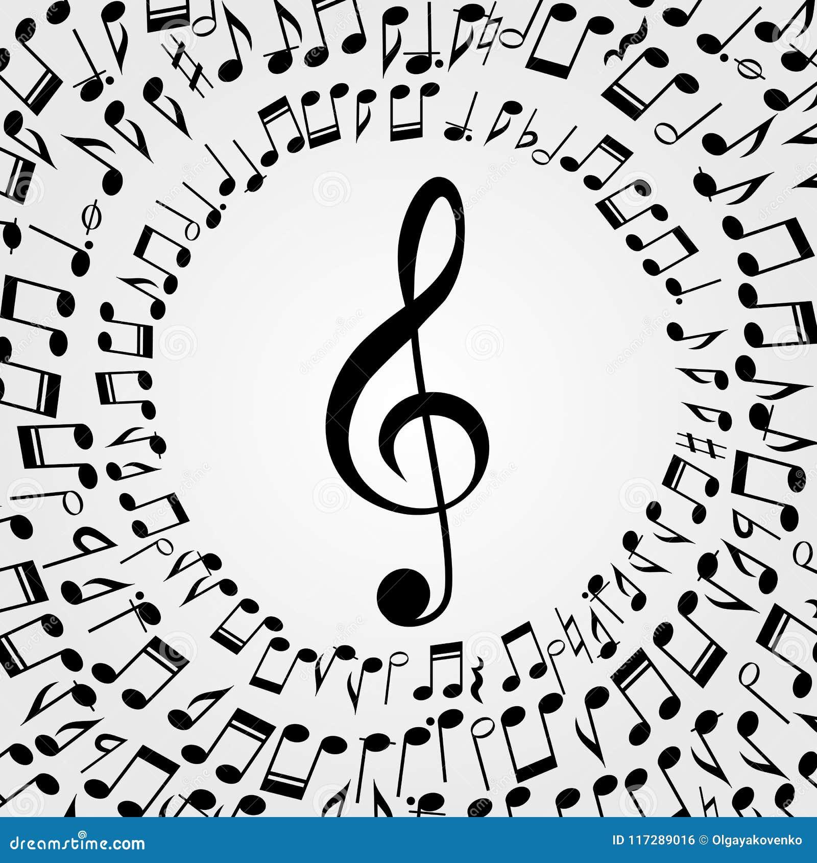 Fondo Del Marco De La Música Del Vector: Melodía, Notas, Llave ...